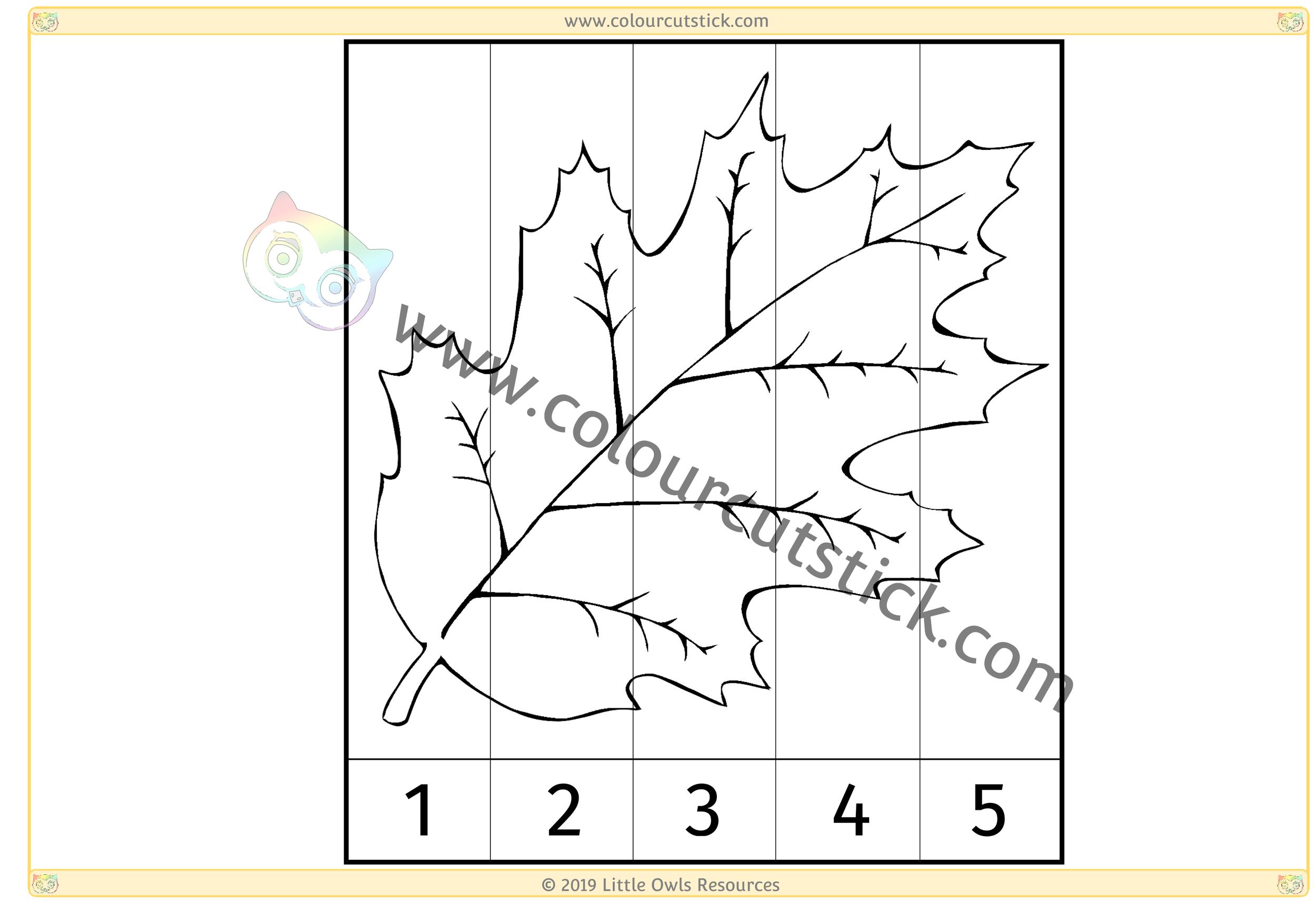 Leaf Number Slice Puzzle 1-5 -