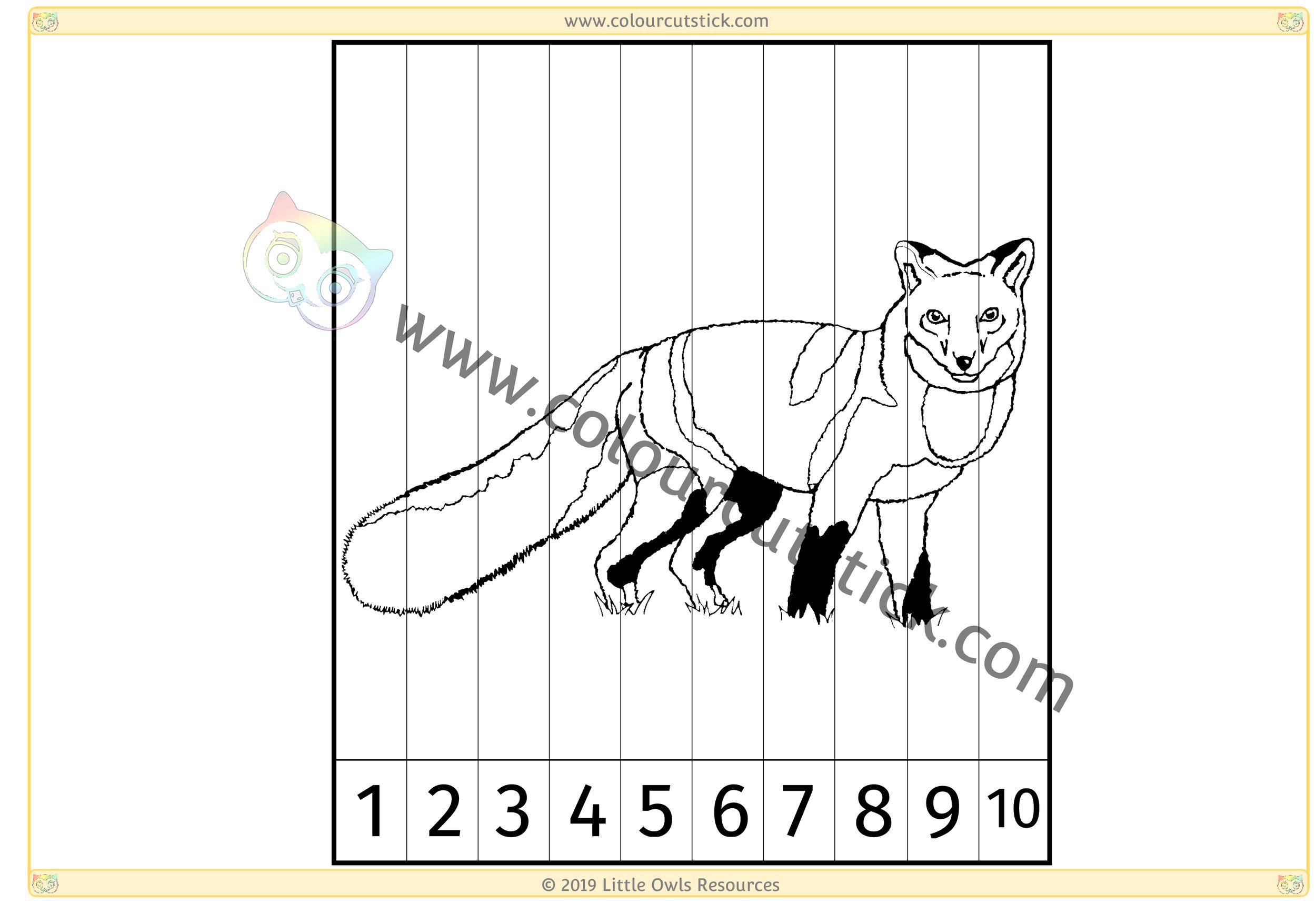Fox Number Slice Puzzle 1-10 -