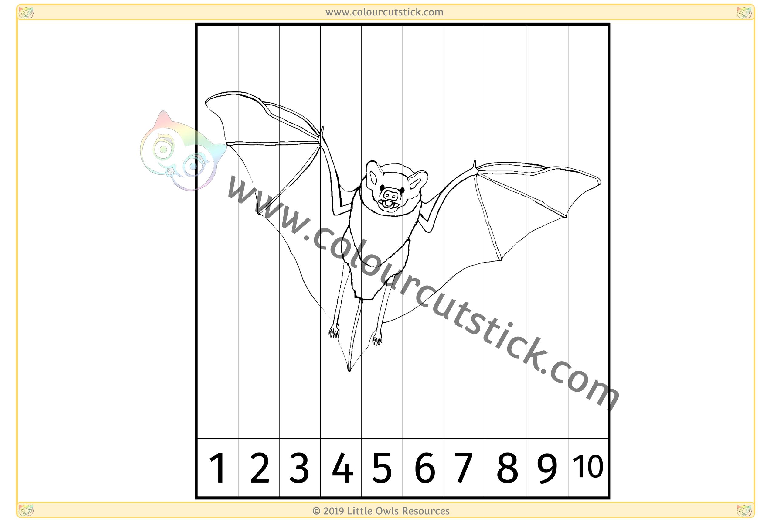 Bat Number Slice Puzzle 1-10 -