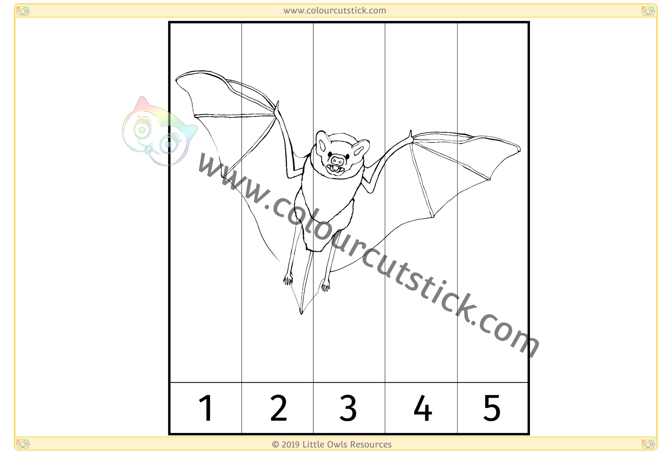 Bat Number Slice Puzzle 1-5 -