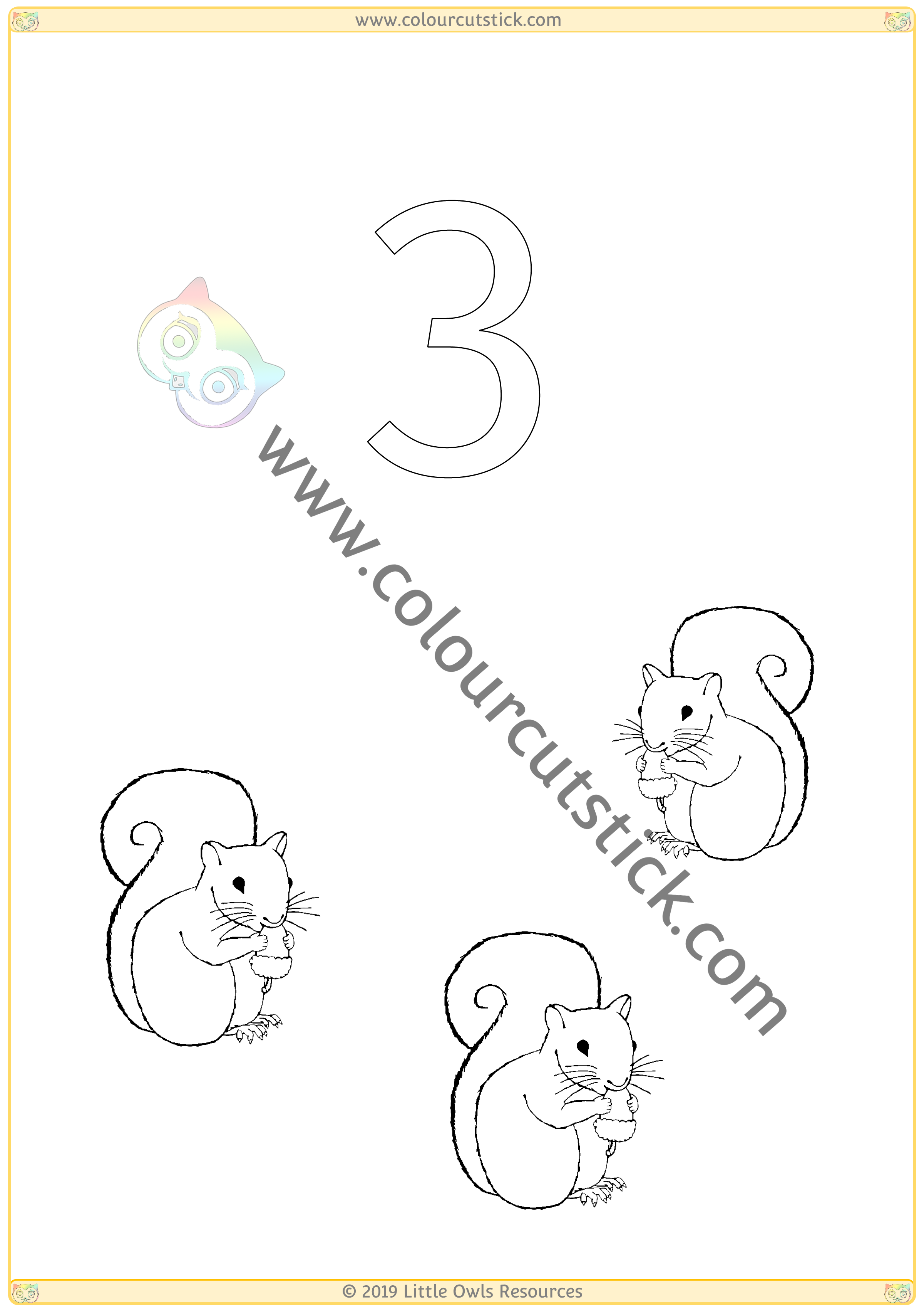 Autumn Colour & Count Poster - Three -