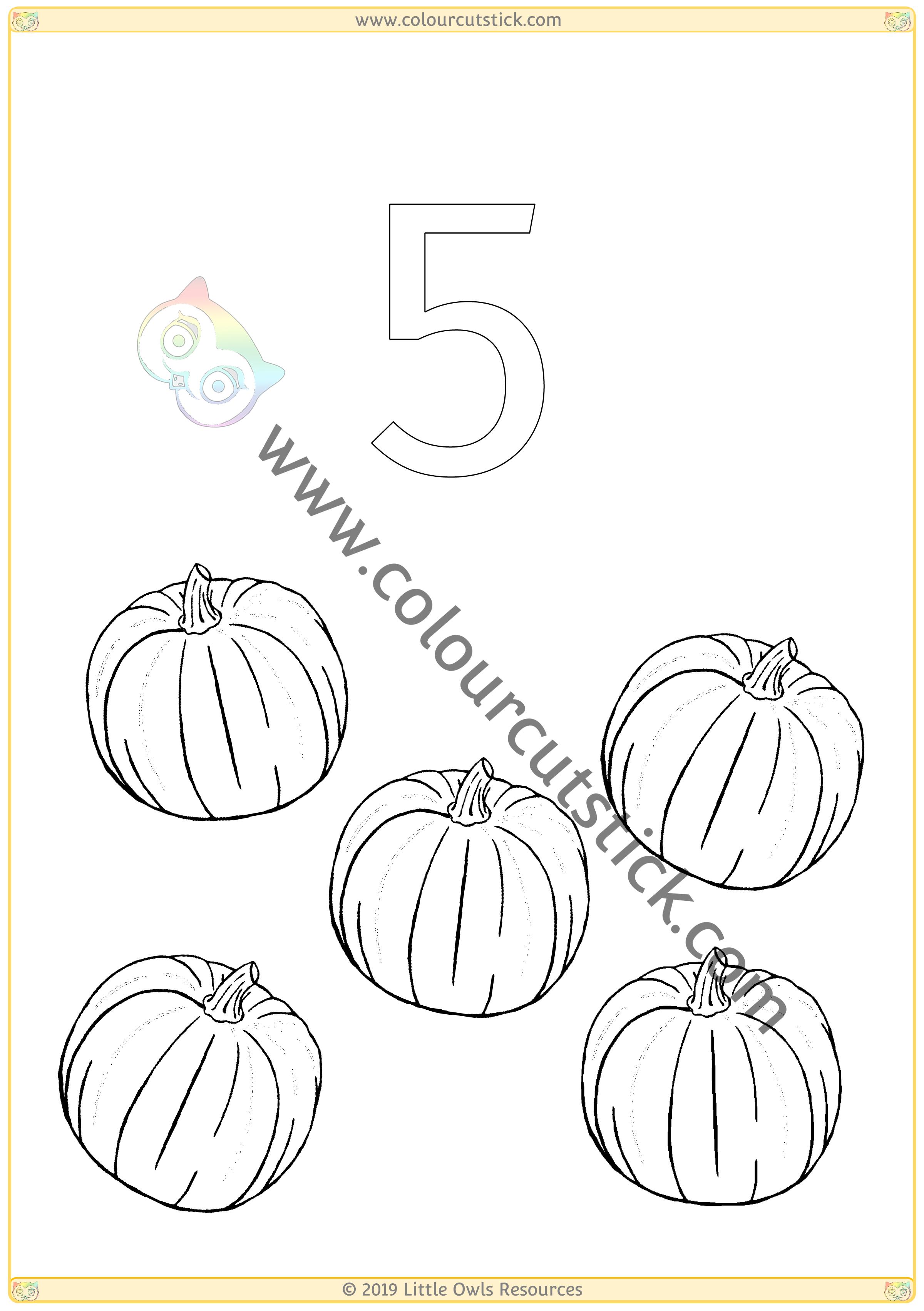 Autumn Colour & Count Poster - Five -
