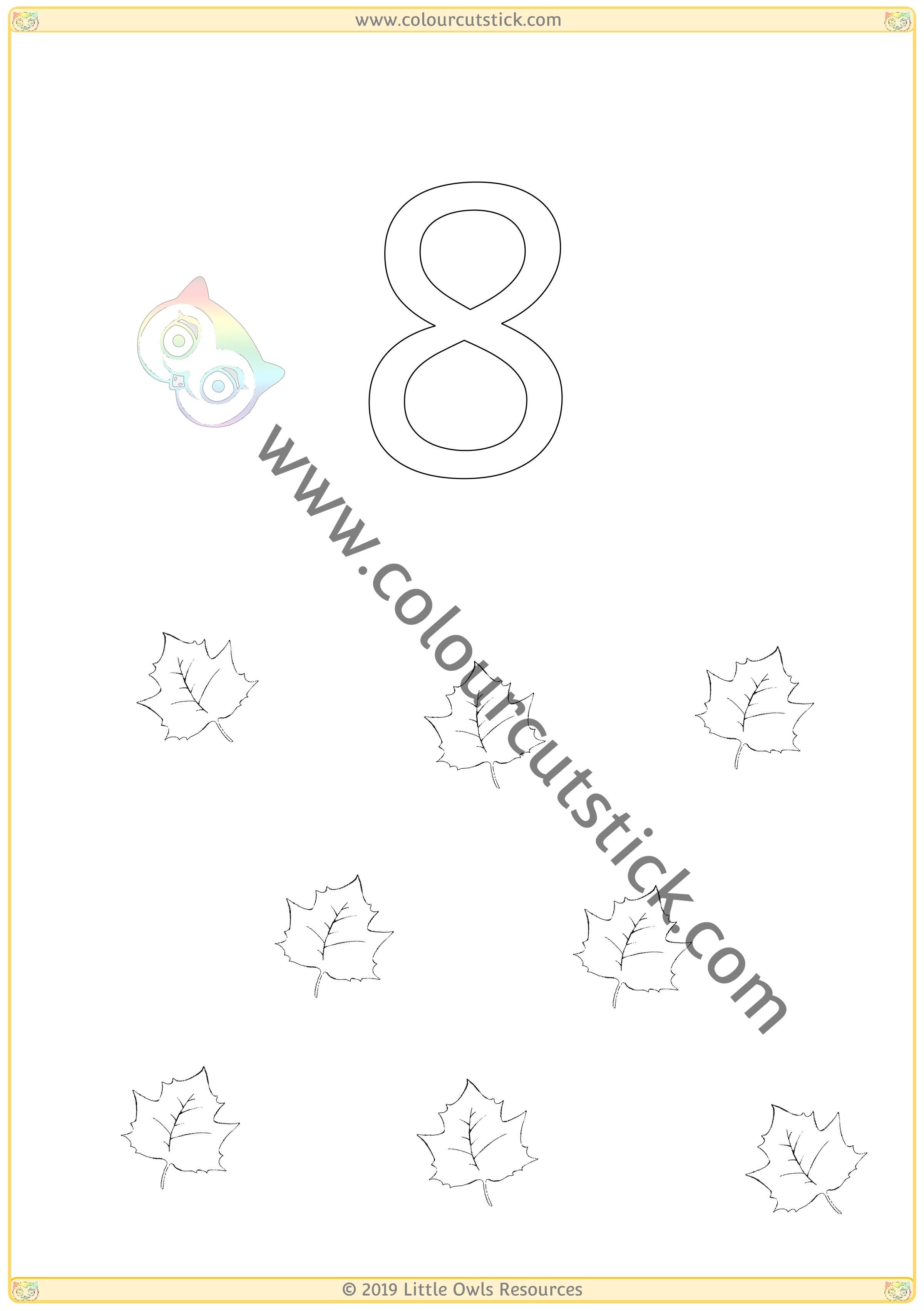 Autumn Colour & Count Poster - Eight -