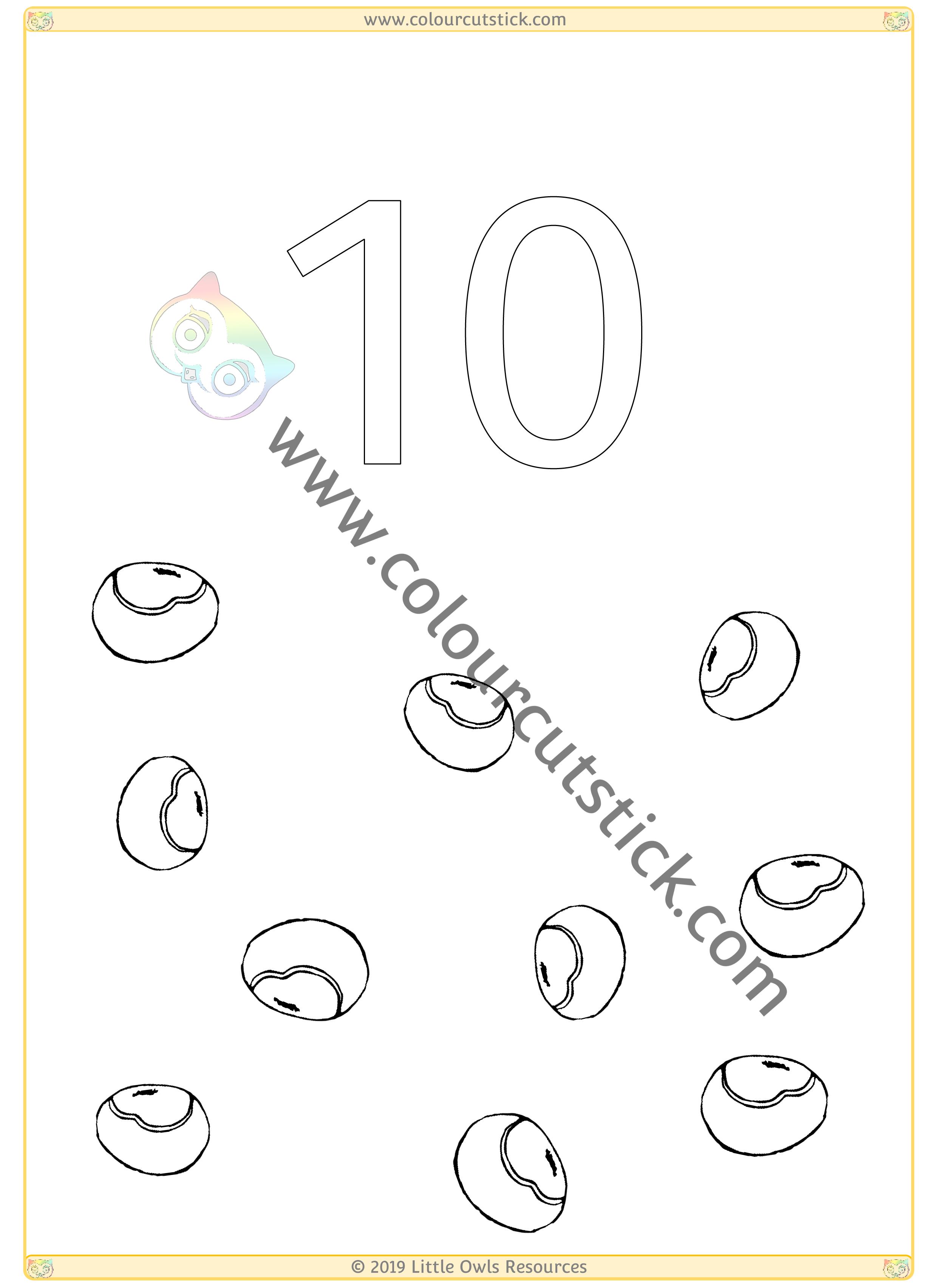 Autumn Colour & Count Poster - Ten -