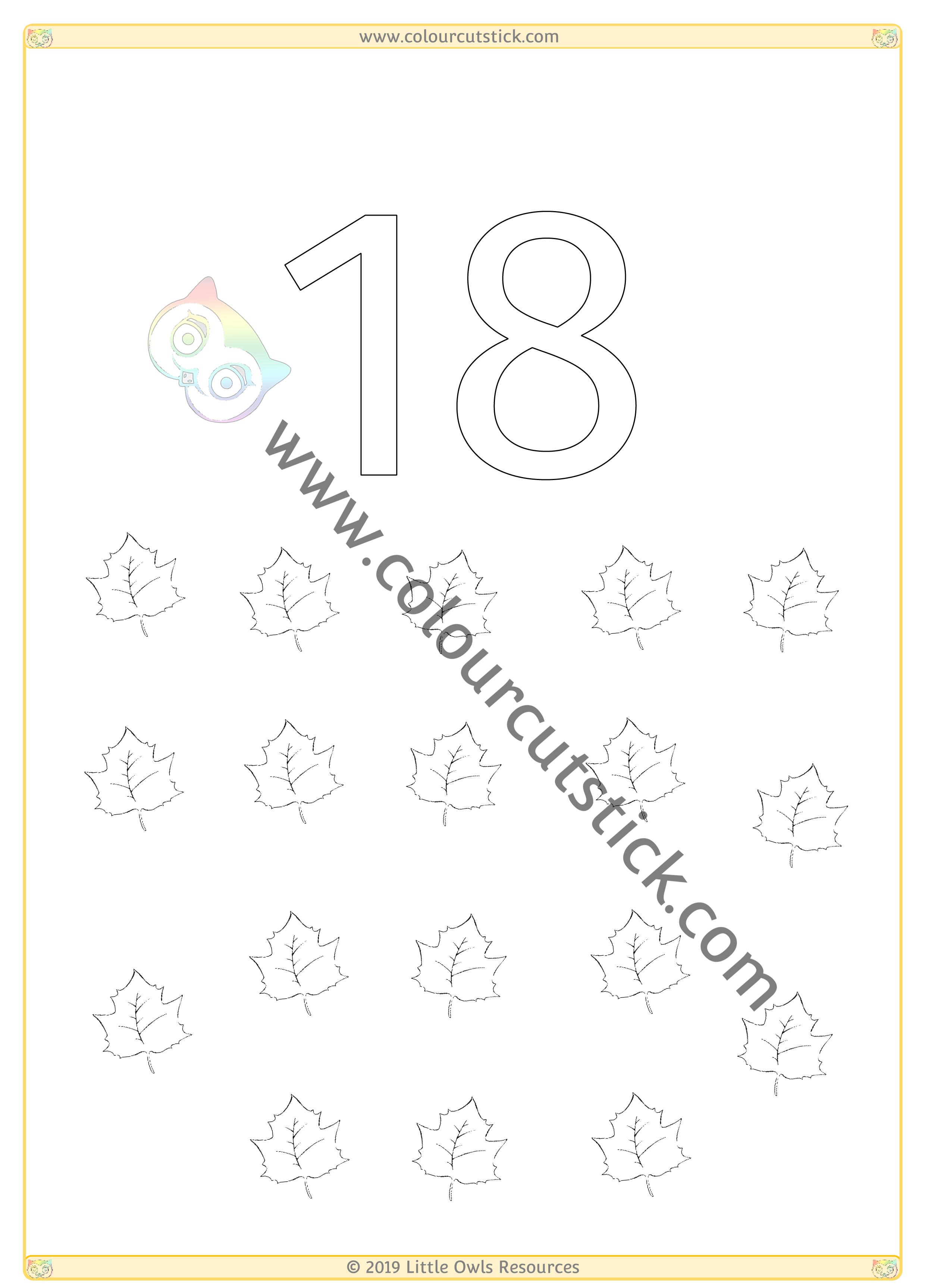 Autumn Colour & Count Poster - Eighteen -