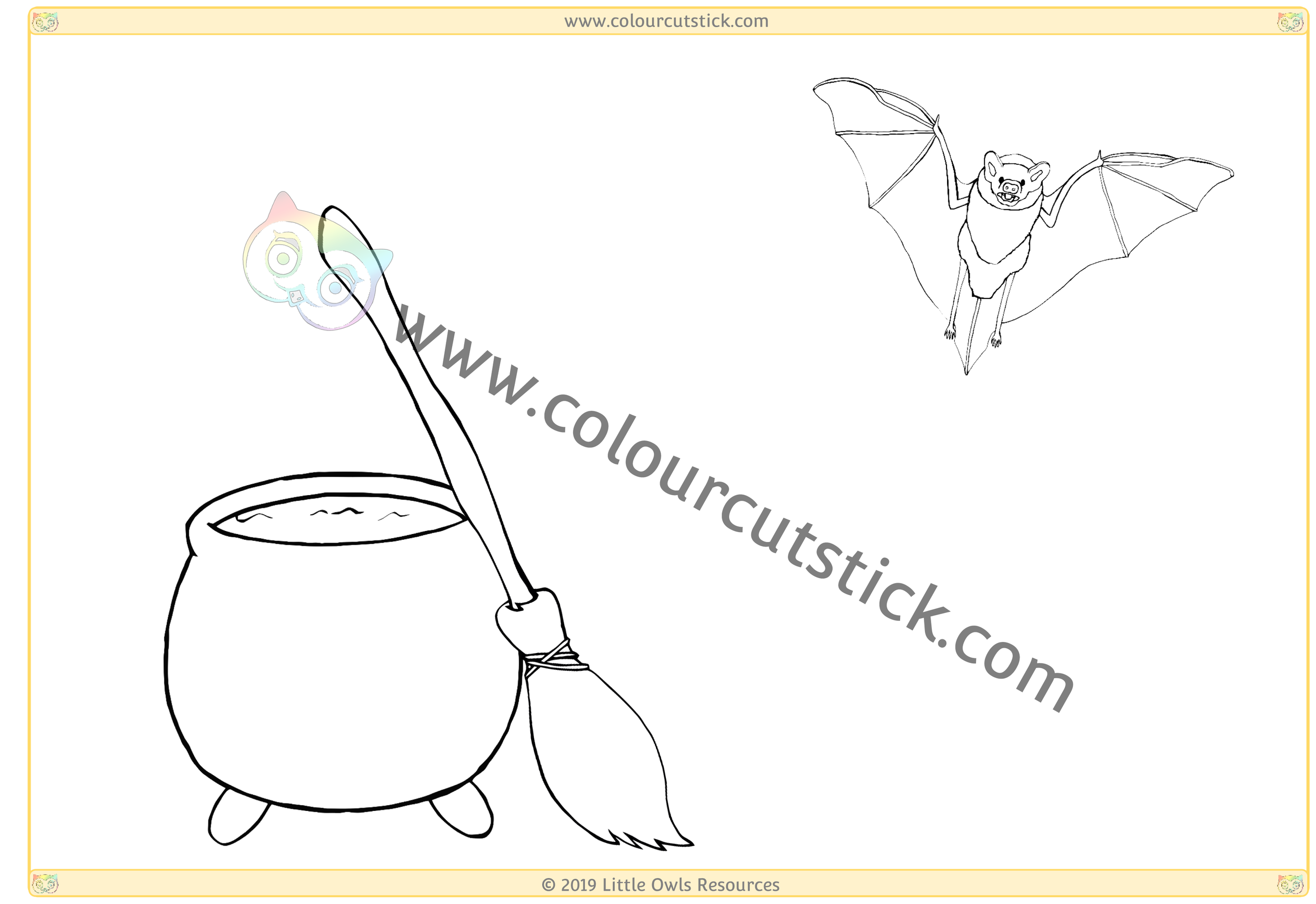 Witch's Cauldron, Broom and Bat -