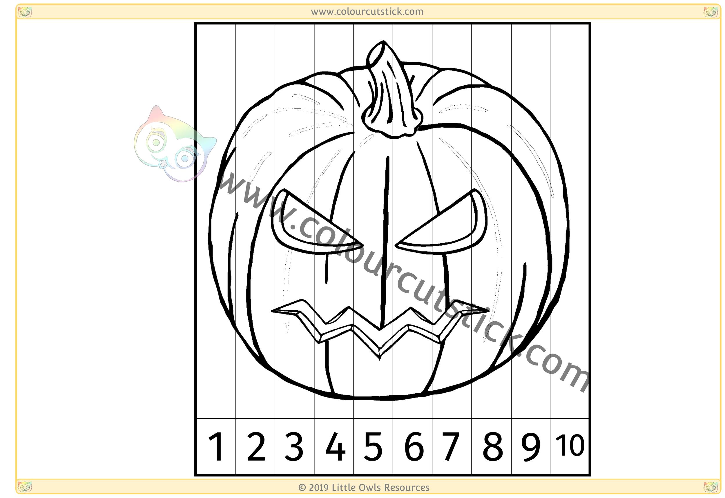 Spooky Pumpkin Number Slice Puzzle 1-10 -