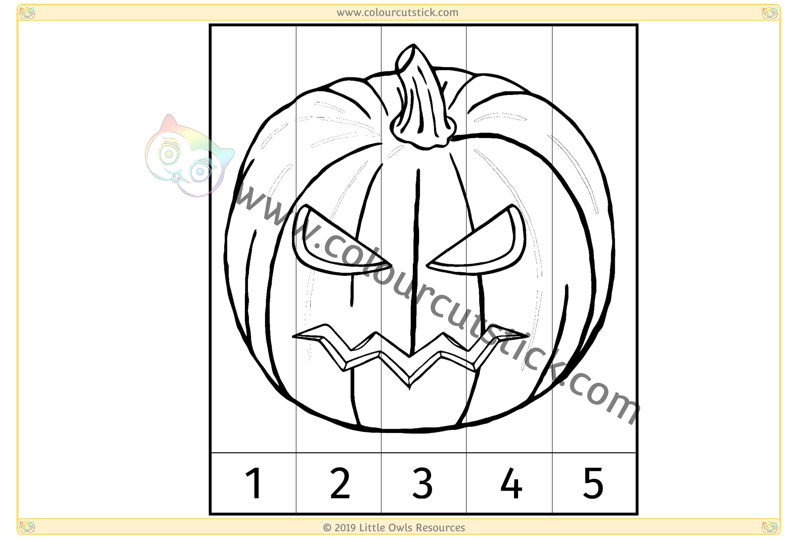 Spooky Pumpkin Number Slice Puzzle 1-5 -