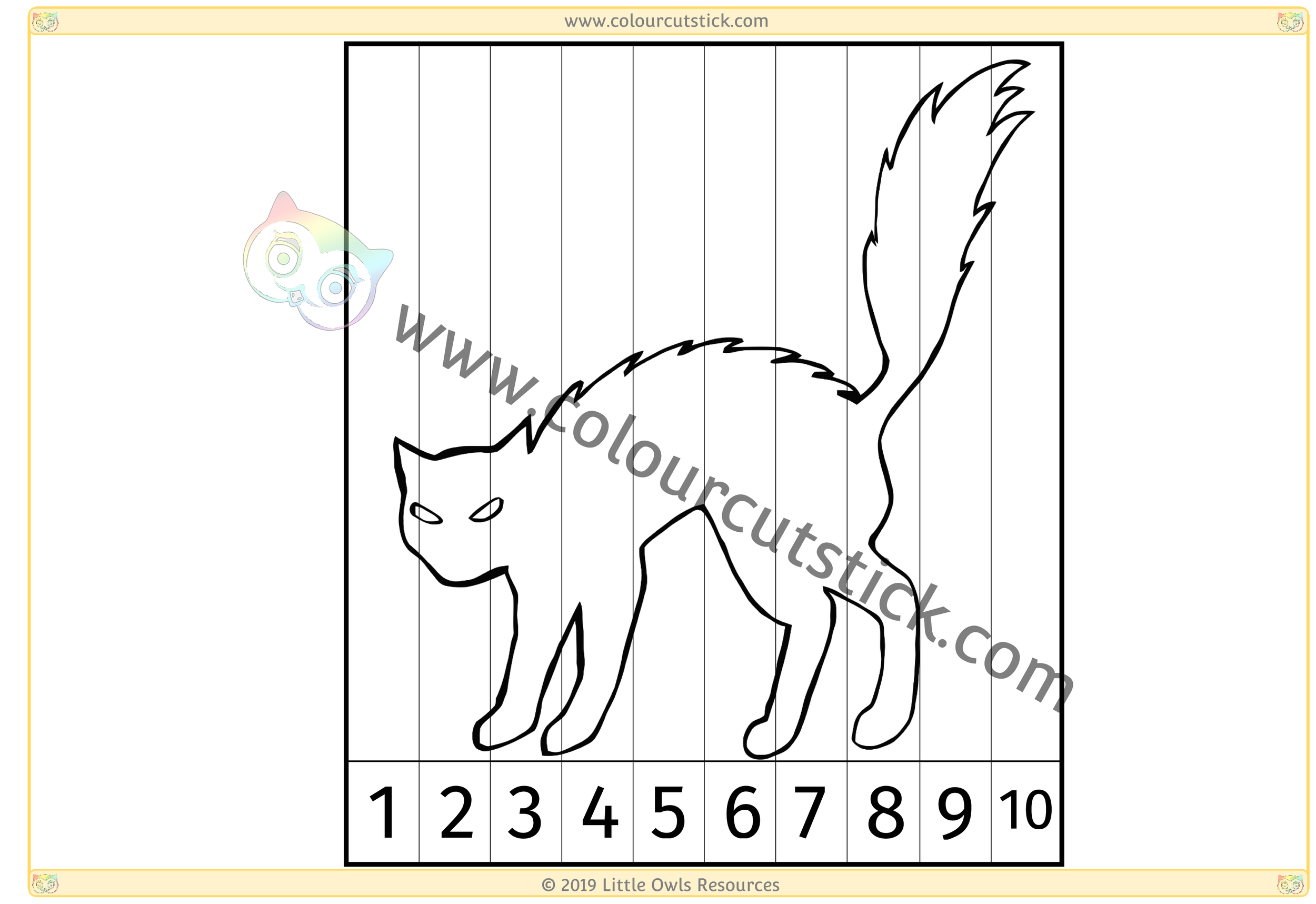 Spooky Cat Number Slice Puzzle 1-10 -