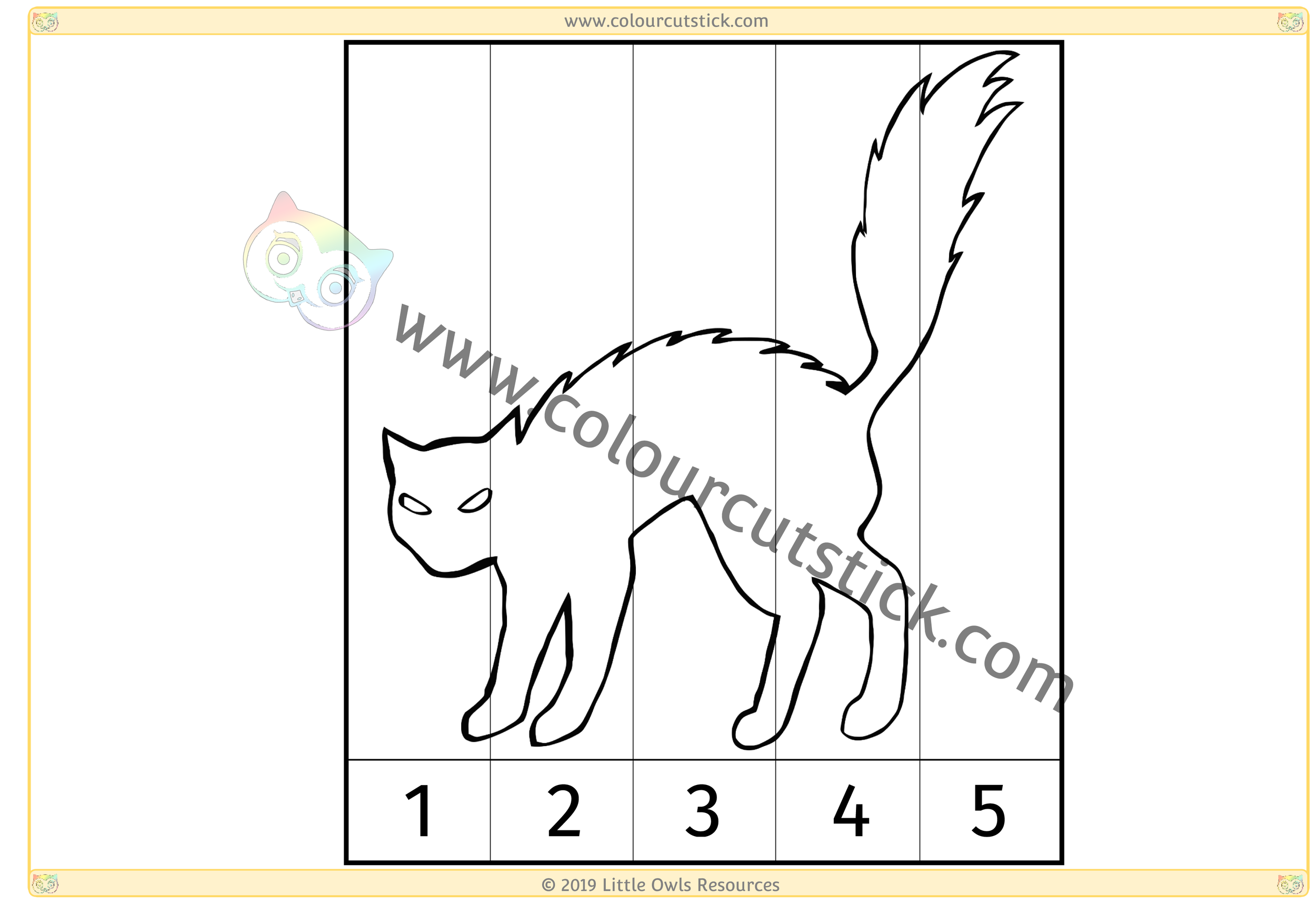 Spooky Cat Number Slice Puzzle 1-5 -