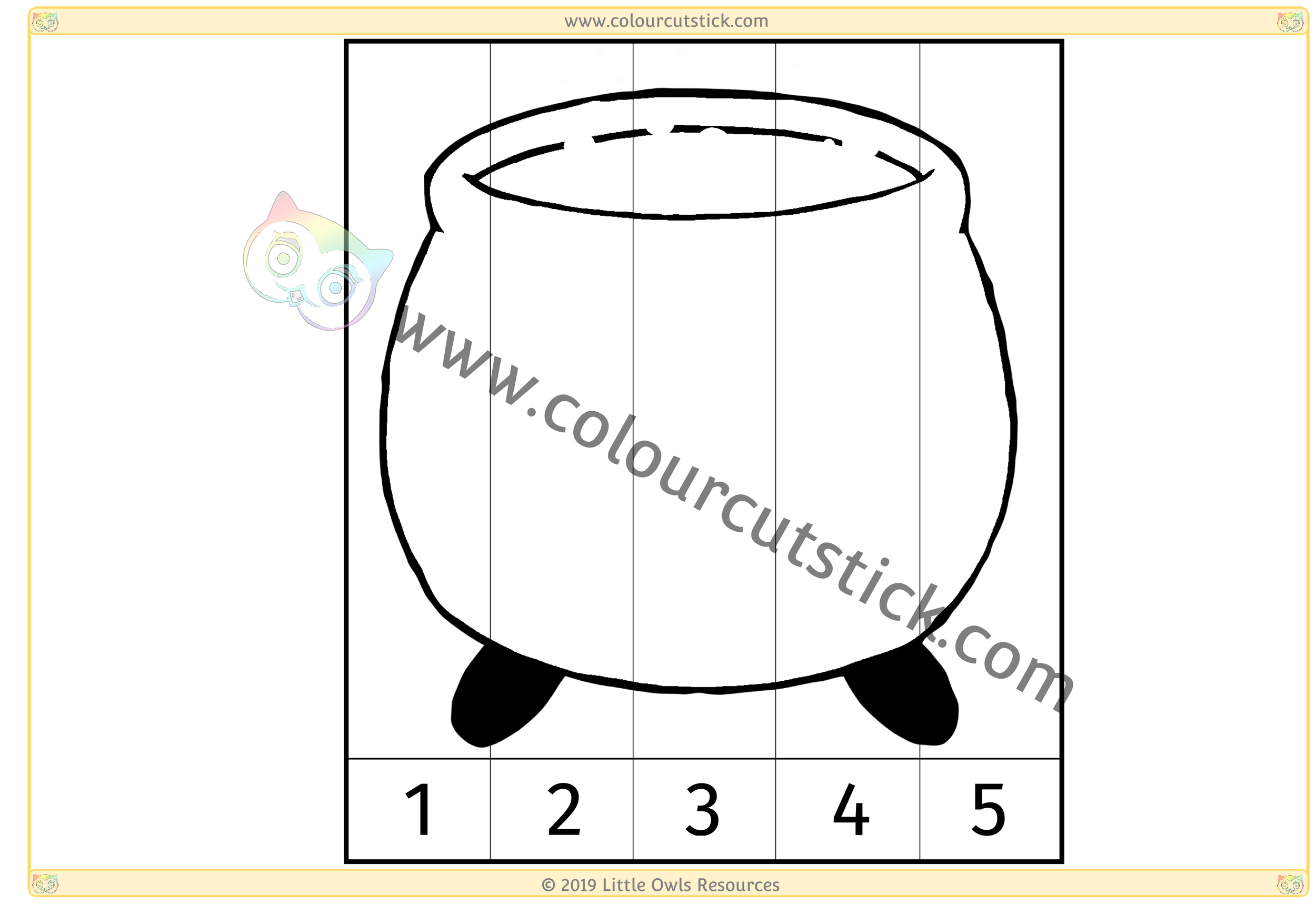 Cauldron Number Slice Puzzle 1-5 -