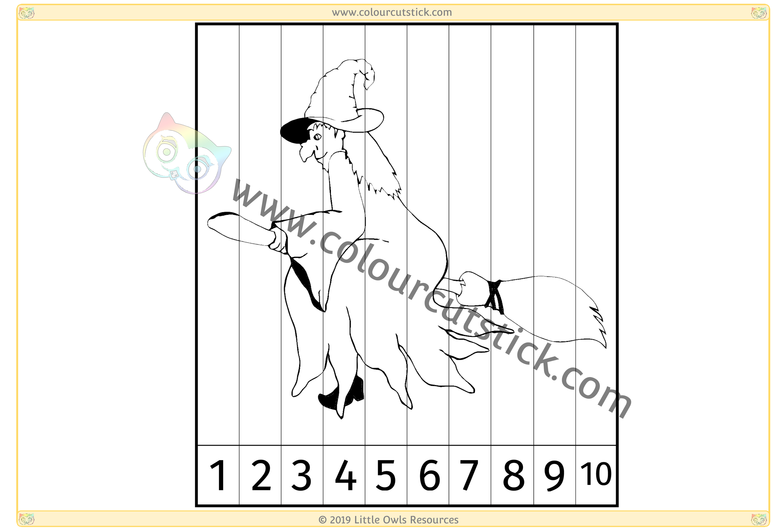 Witch on Broomstick Number Slice Puzzle 1-10 -