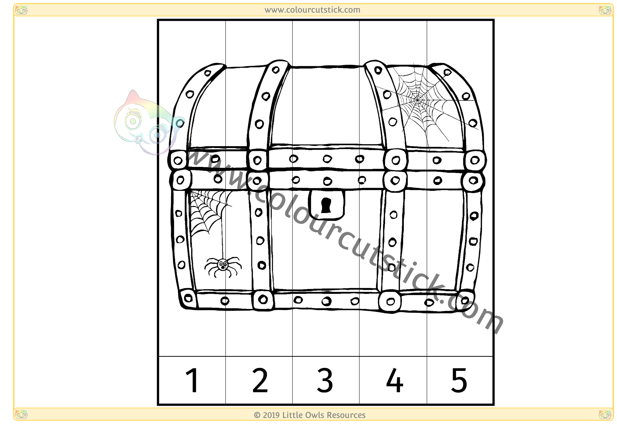 Spooky Chest Number Slice Puzzle 1-5 -