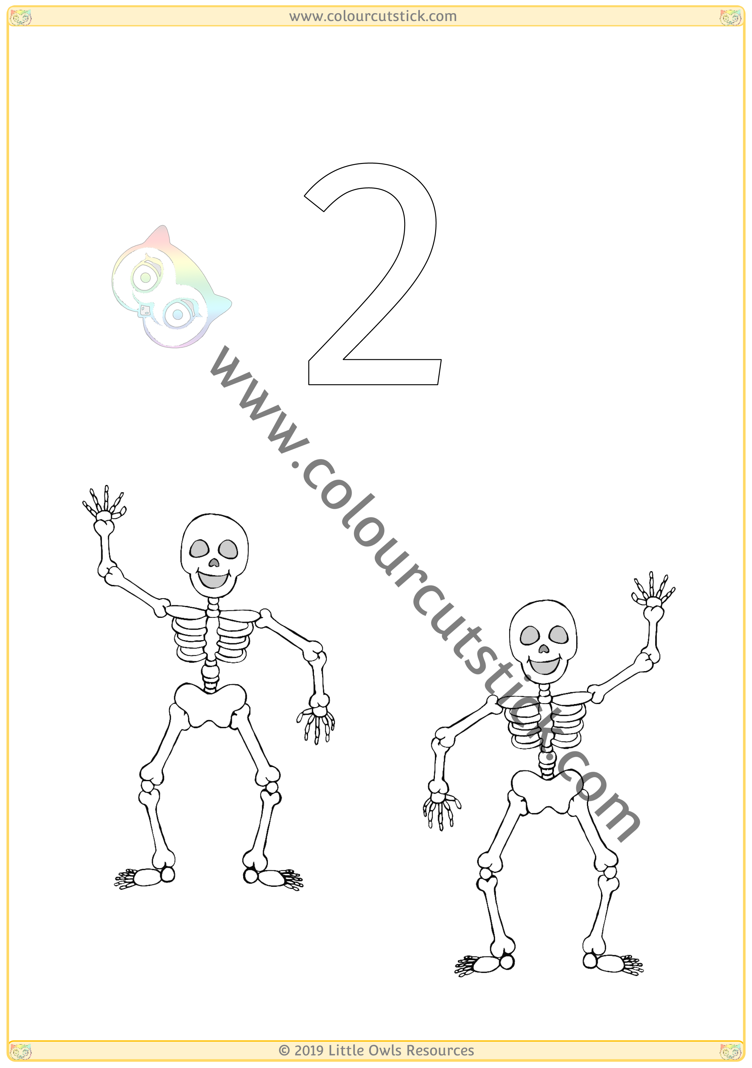 Halloween Colour & Count Poster - Two -