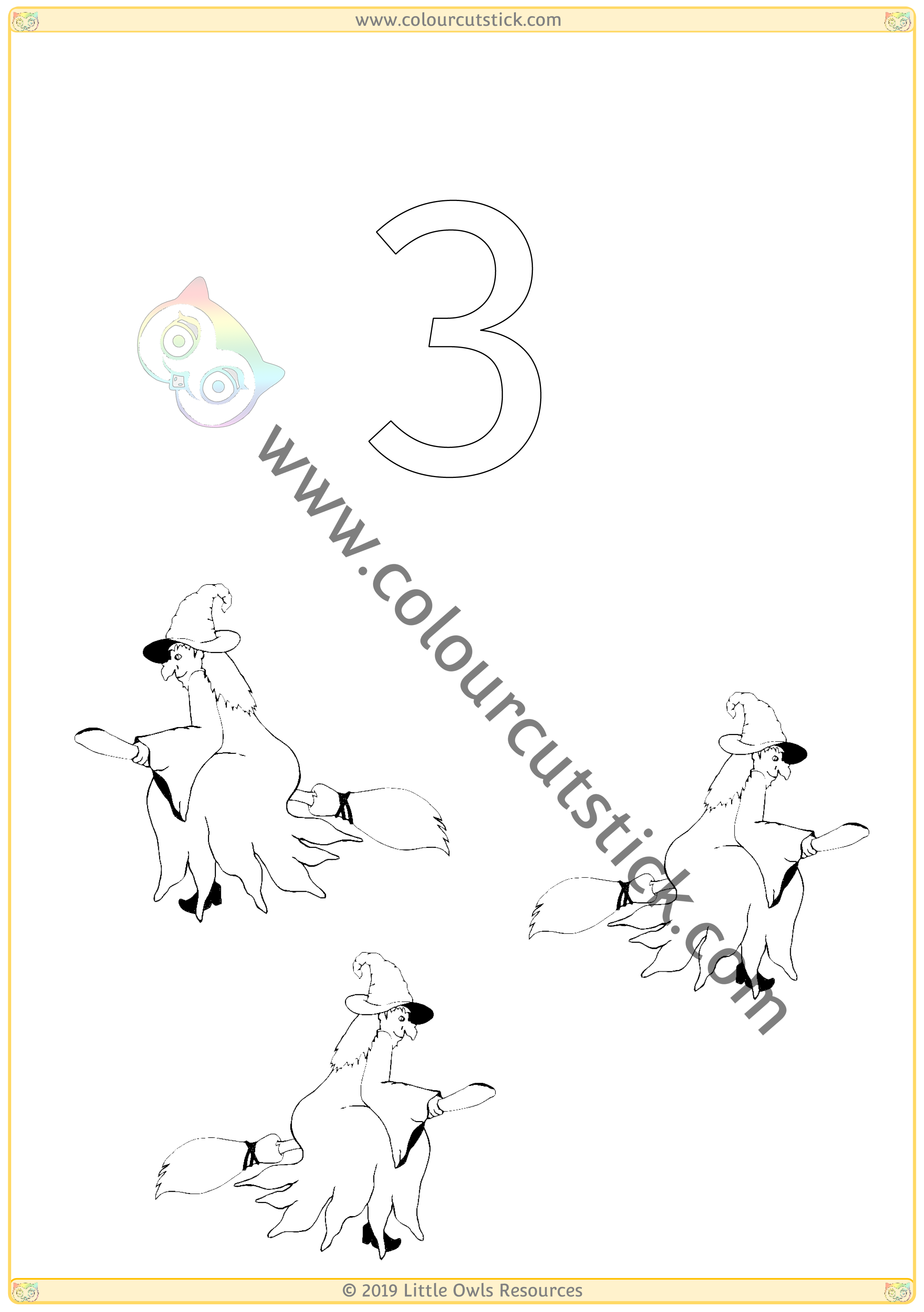 Halloween Colour & Count Poster - Three -