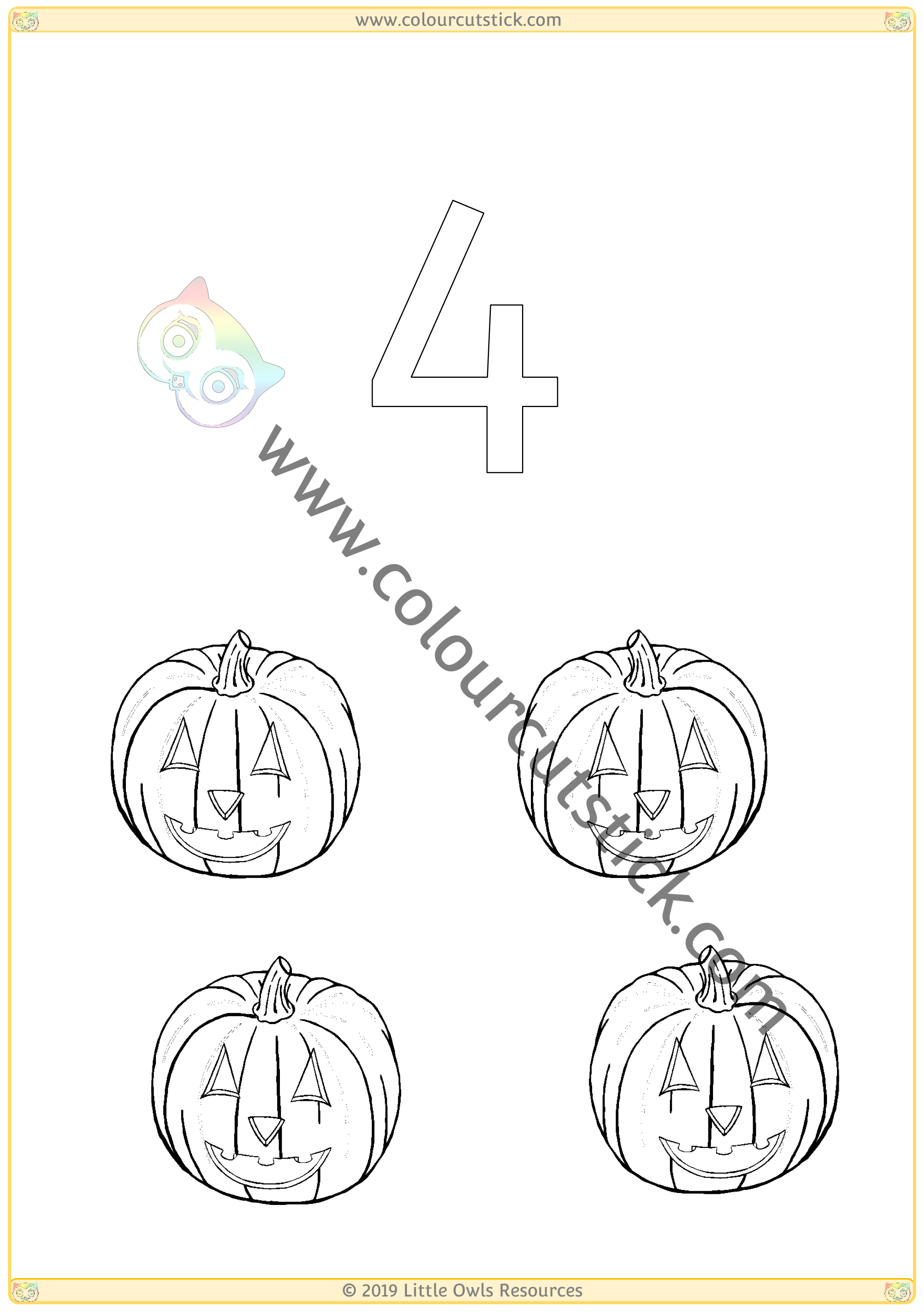 Halloween Colour & Count Poster - Four -