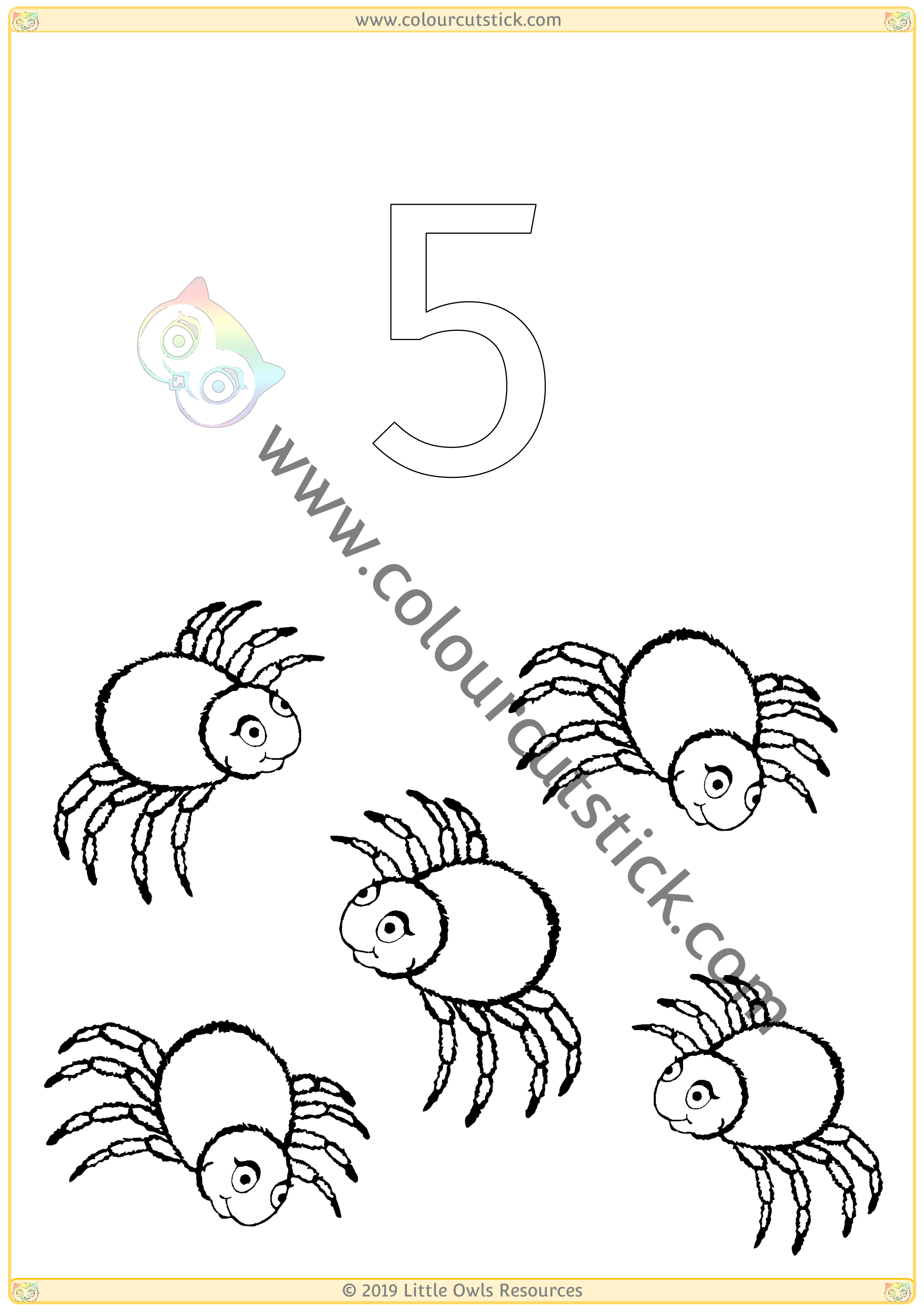 Halloween Colour & Count Poster - Five -