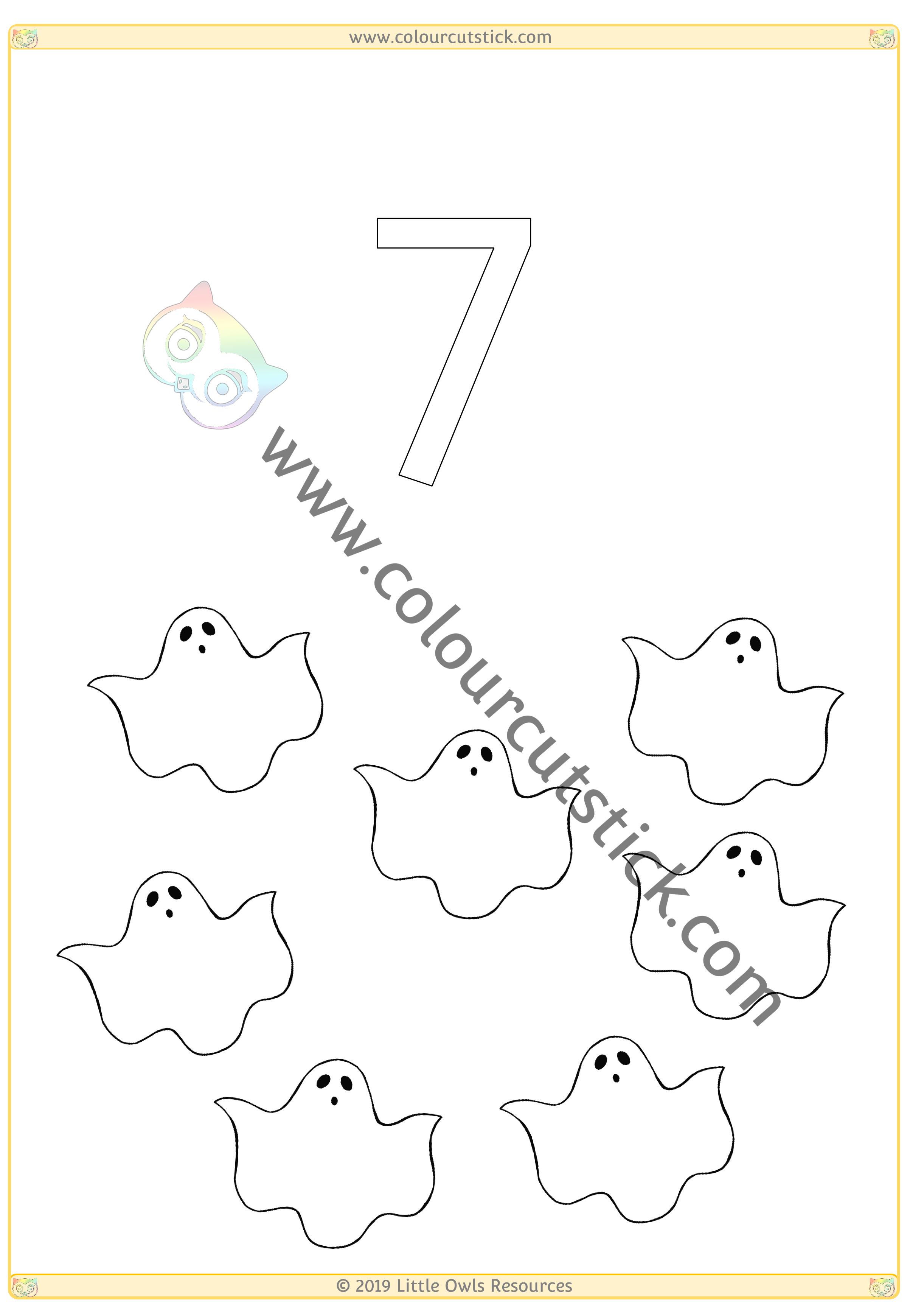 Halloween Colour & Count Poster - Seven -