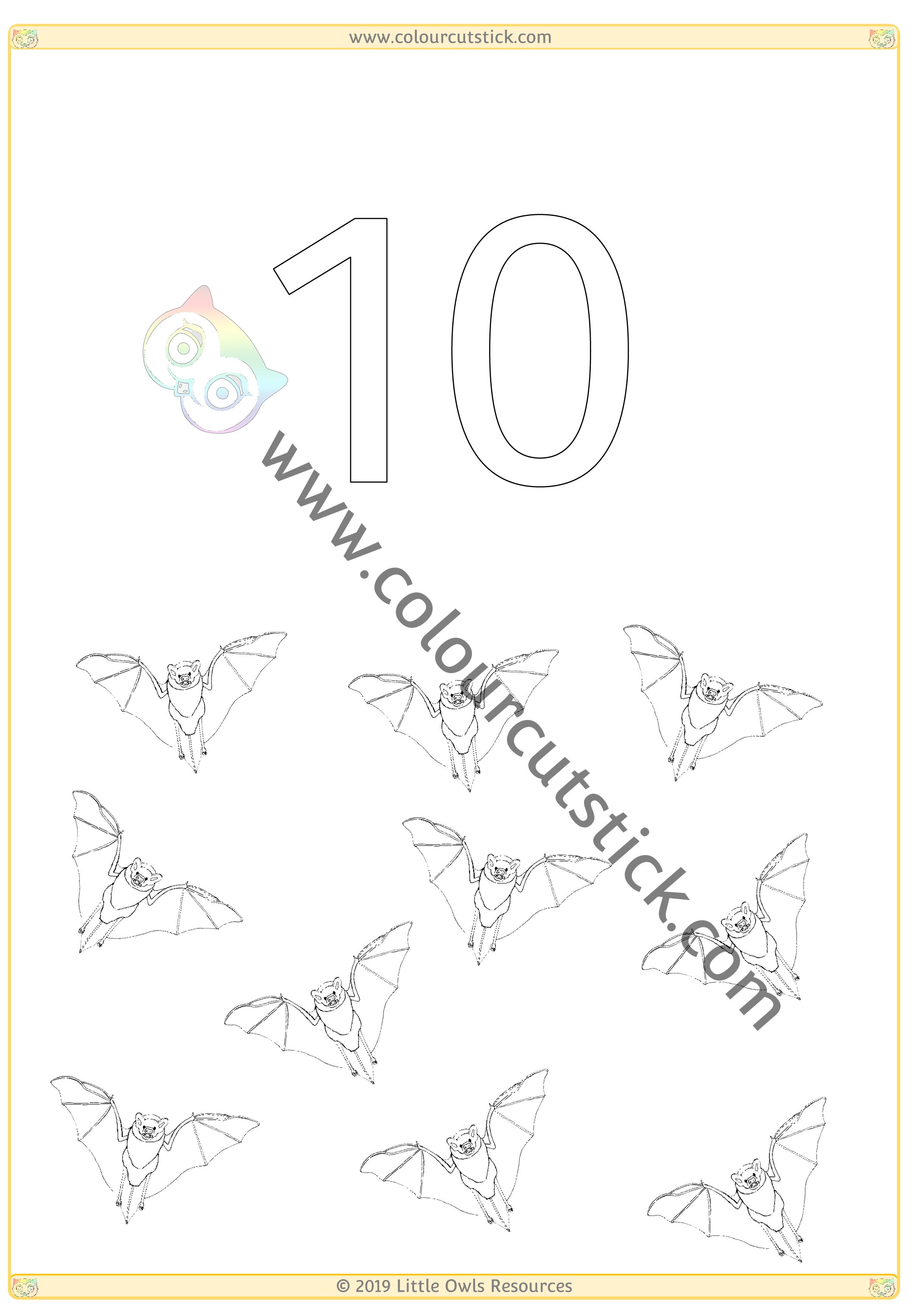 Halloween Colour & Count Poster - Ten -