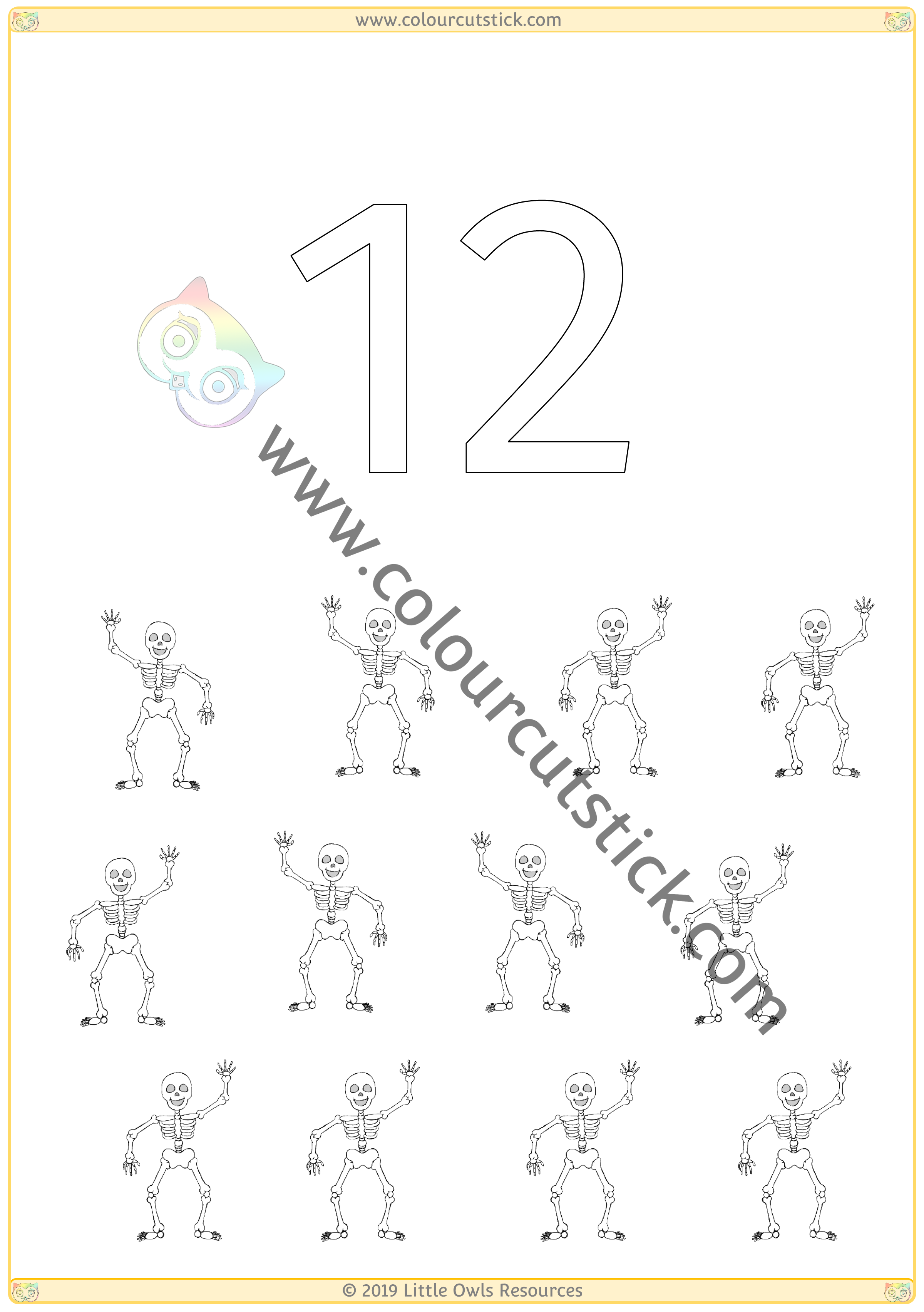 Halloween Colour & Count Poster - Twelve -