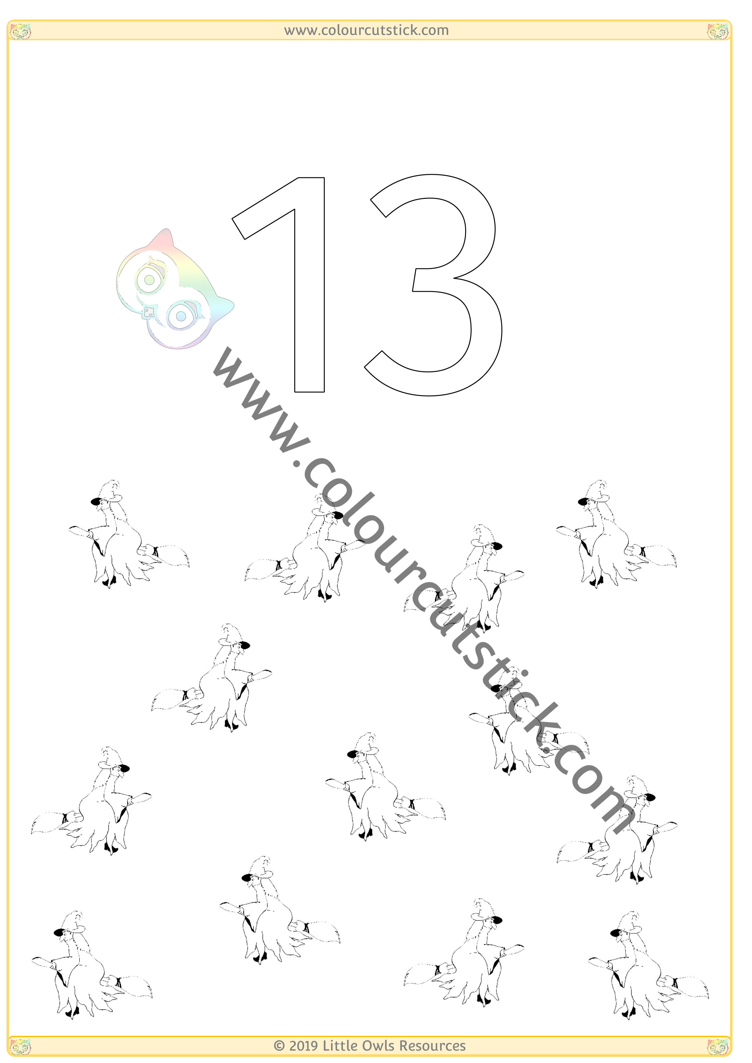Halloween Colour & Count Poster - Thirteen -