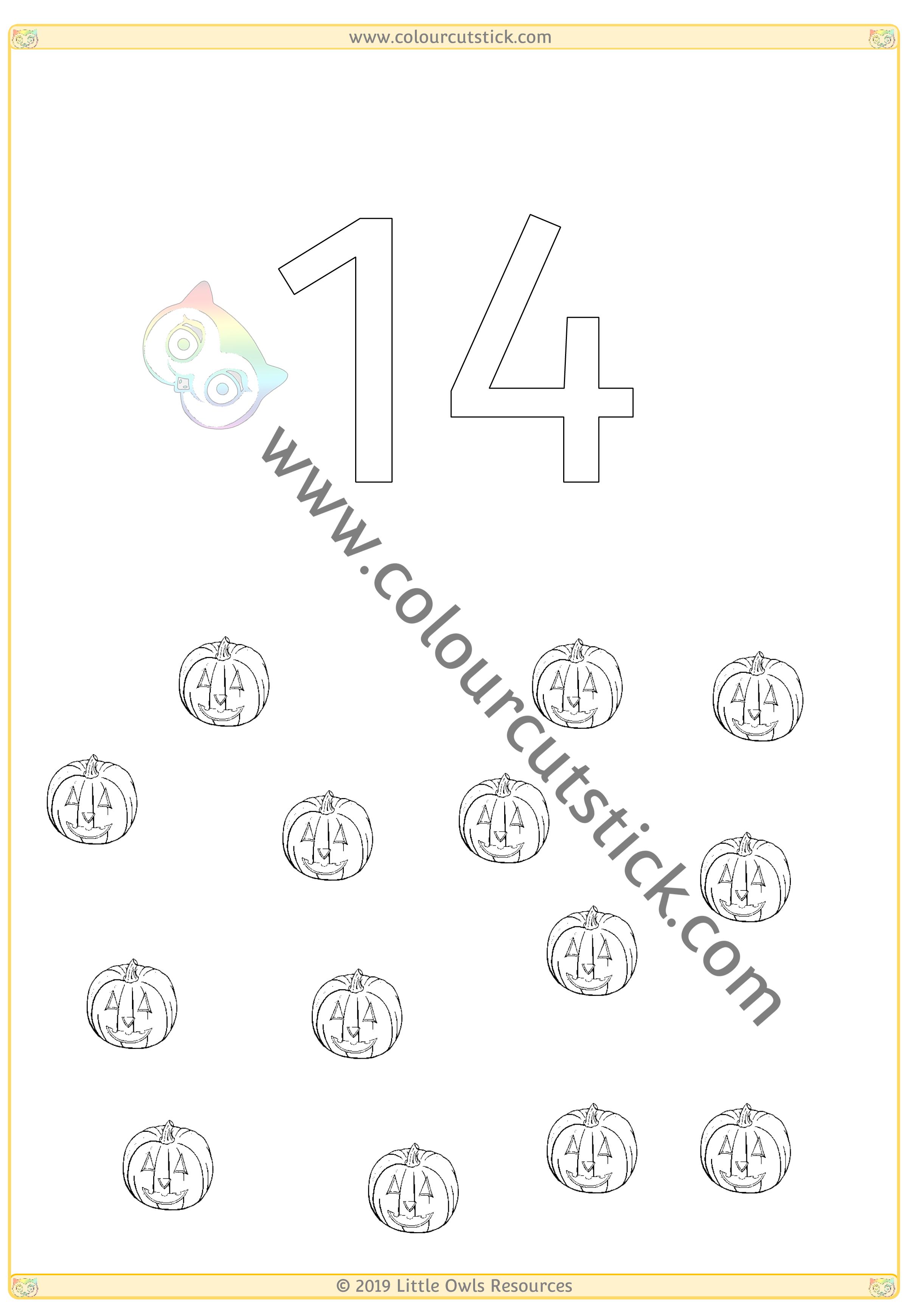 Halloween Colour & Count Poster - Fourteen -