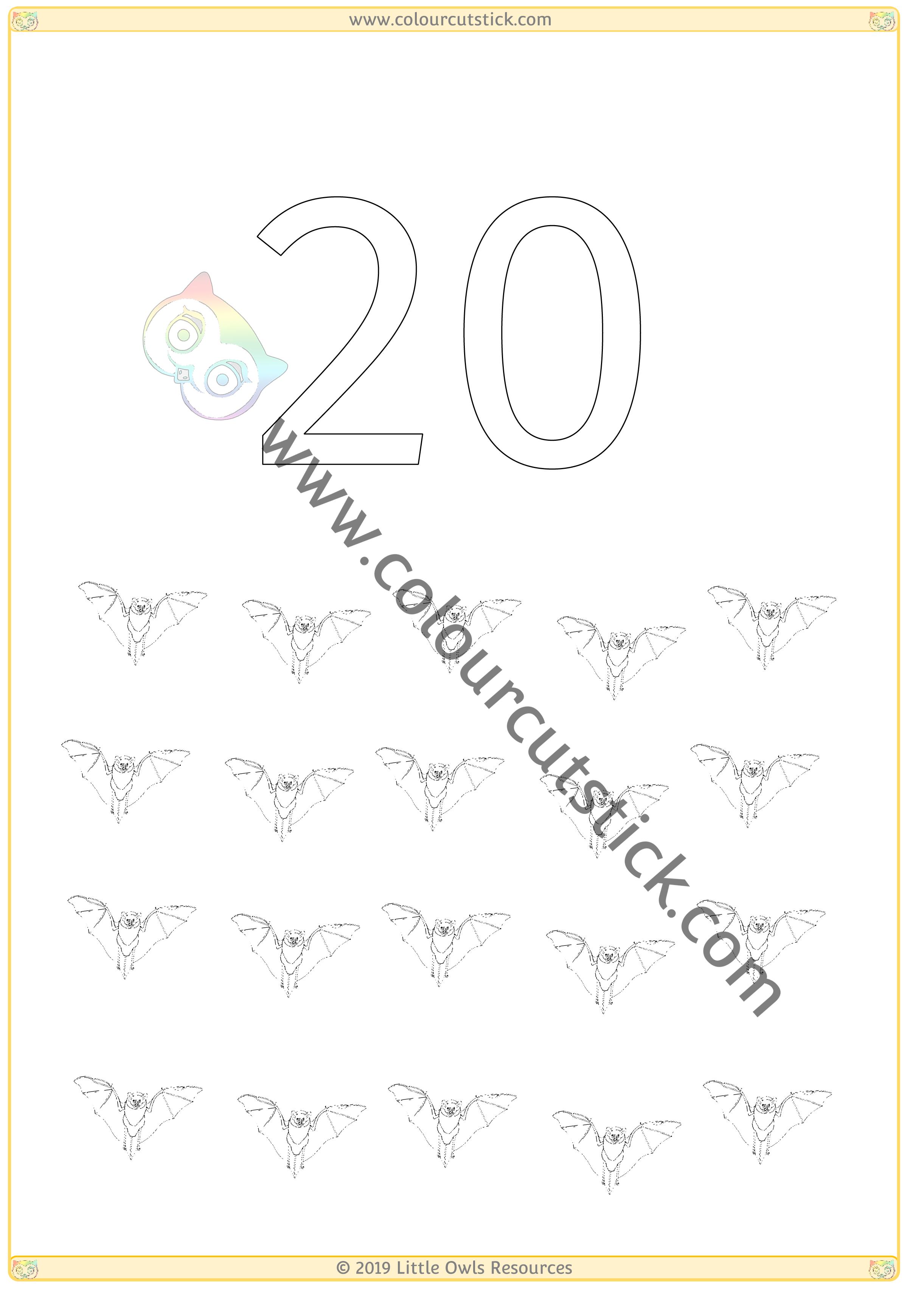 Halloween Colour & Count Poster - Twenty -
