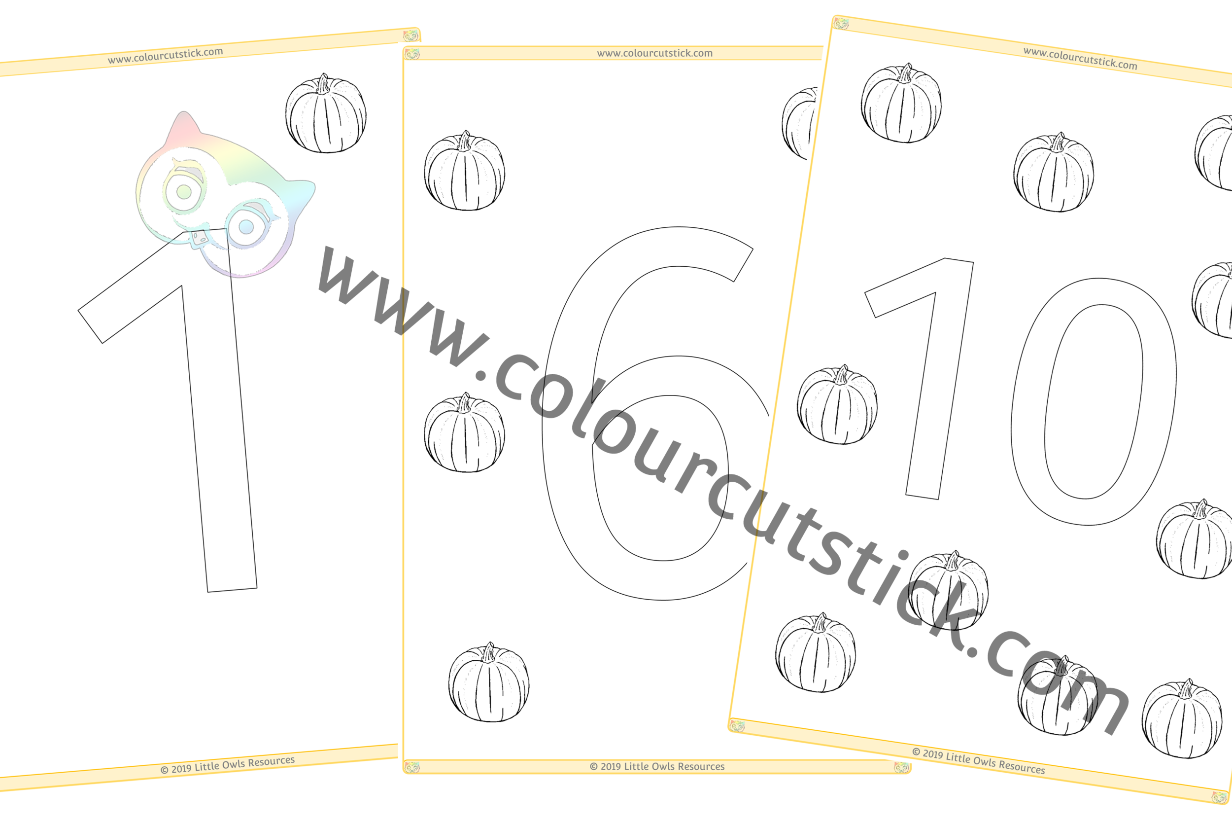 1-10 Pumpkin Colour and Count PACK -