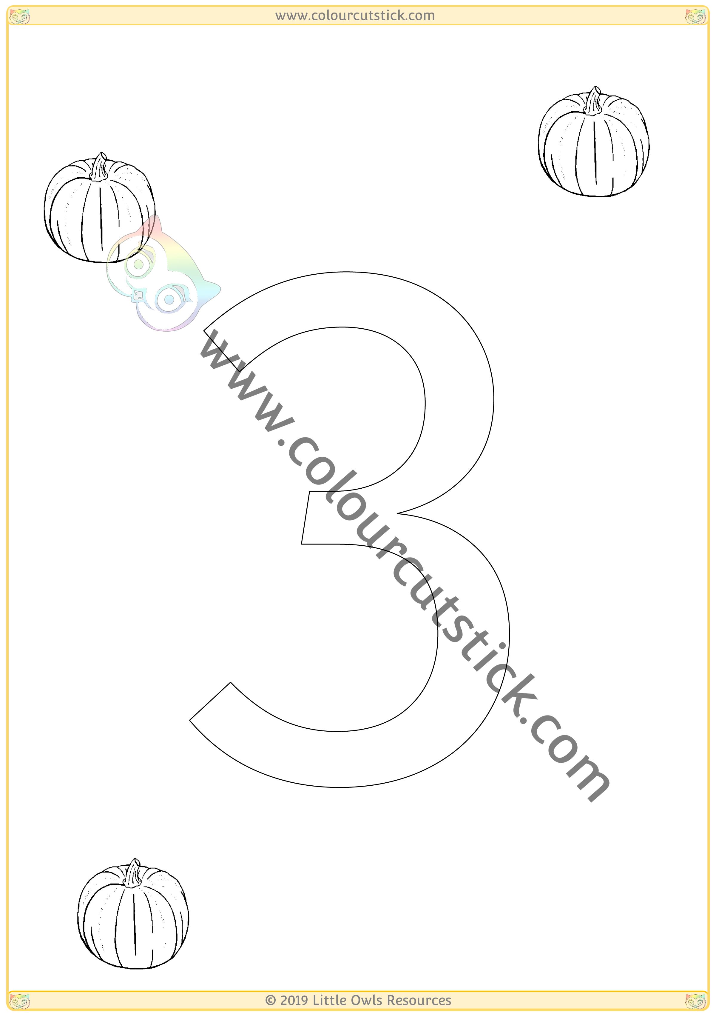 Pumpkin Colour & Count Poster - Three -