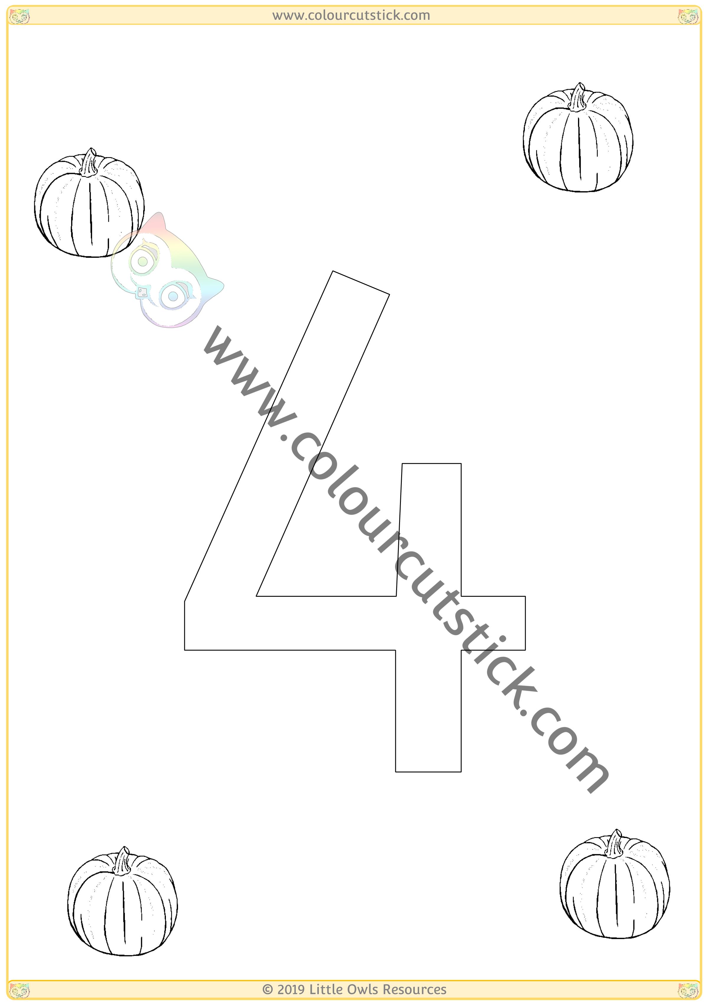 Pumpkin Colour & Count Poster - Four -