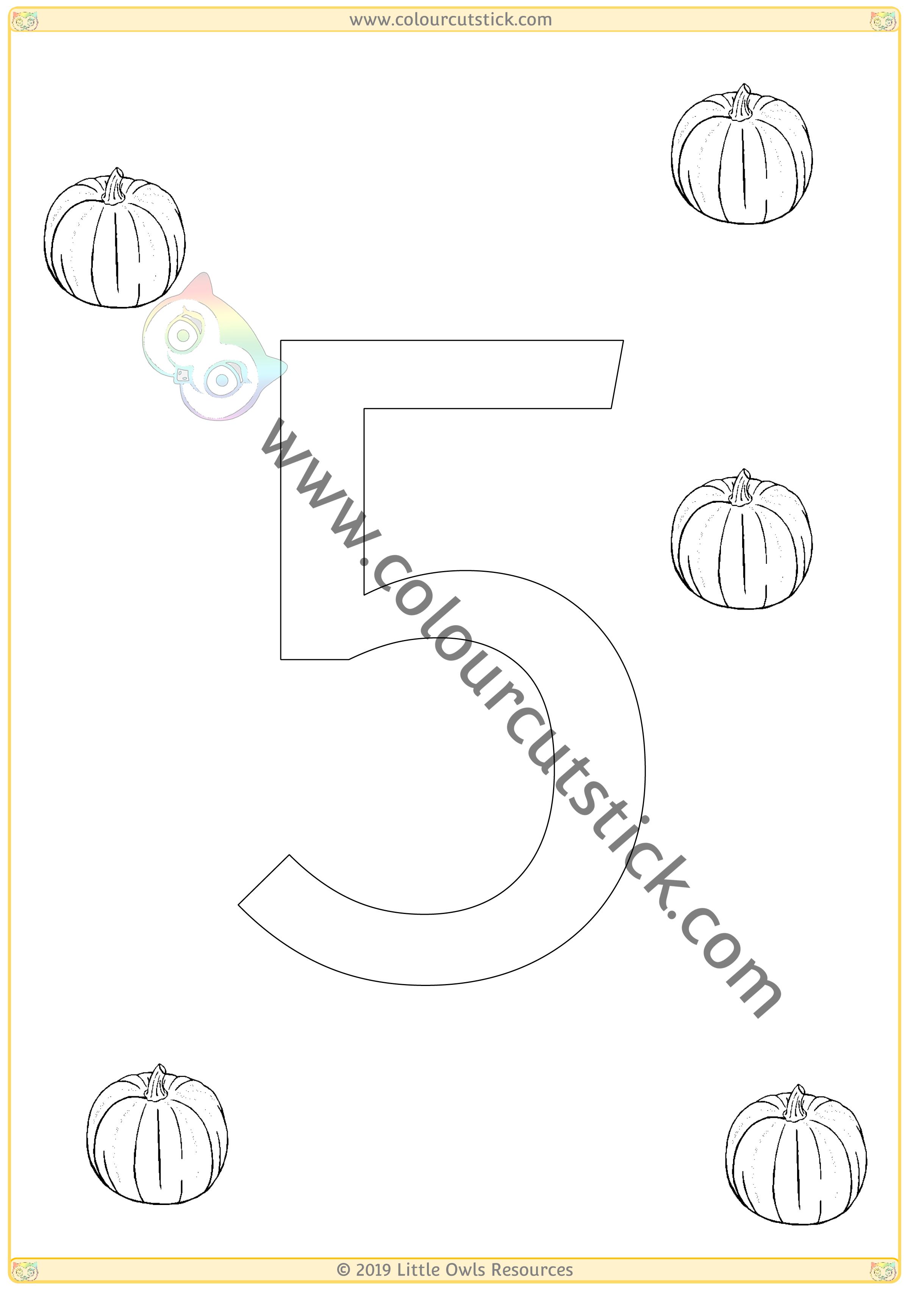 Pumpkin Colour & Count Poster - Five -