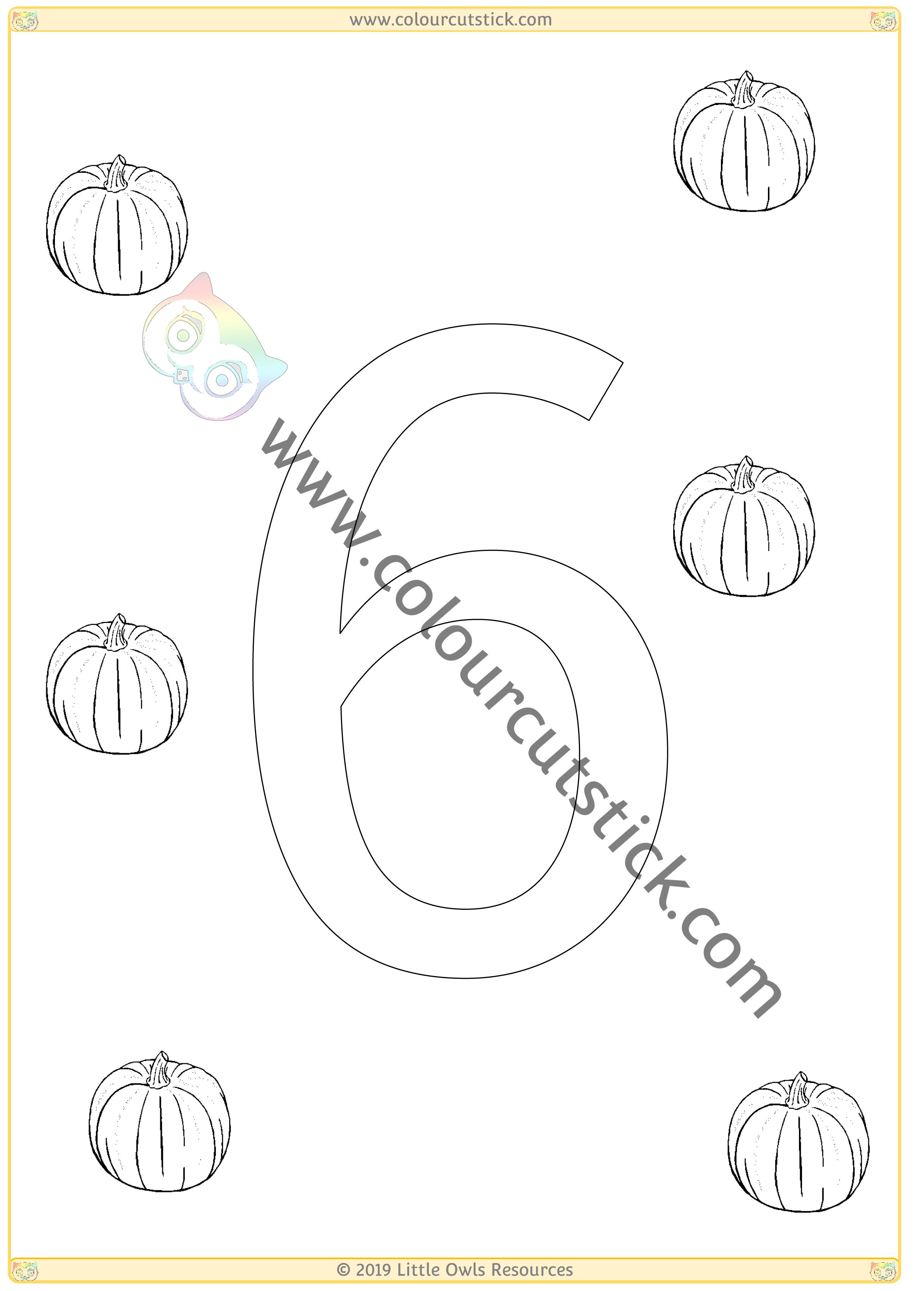 Pumpkin Colour & Count Poster - Six -