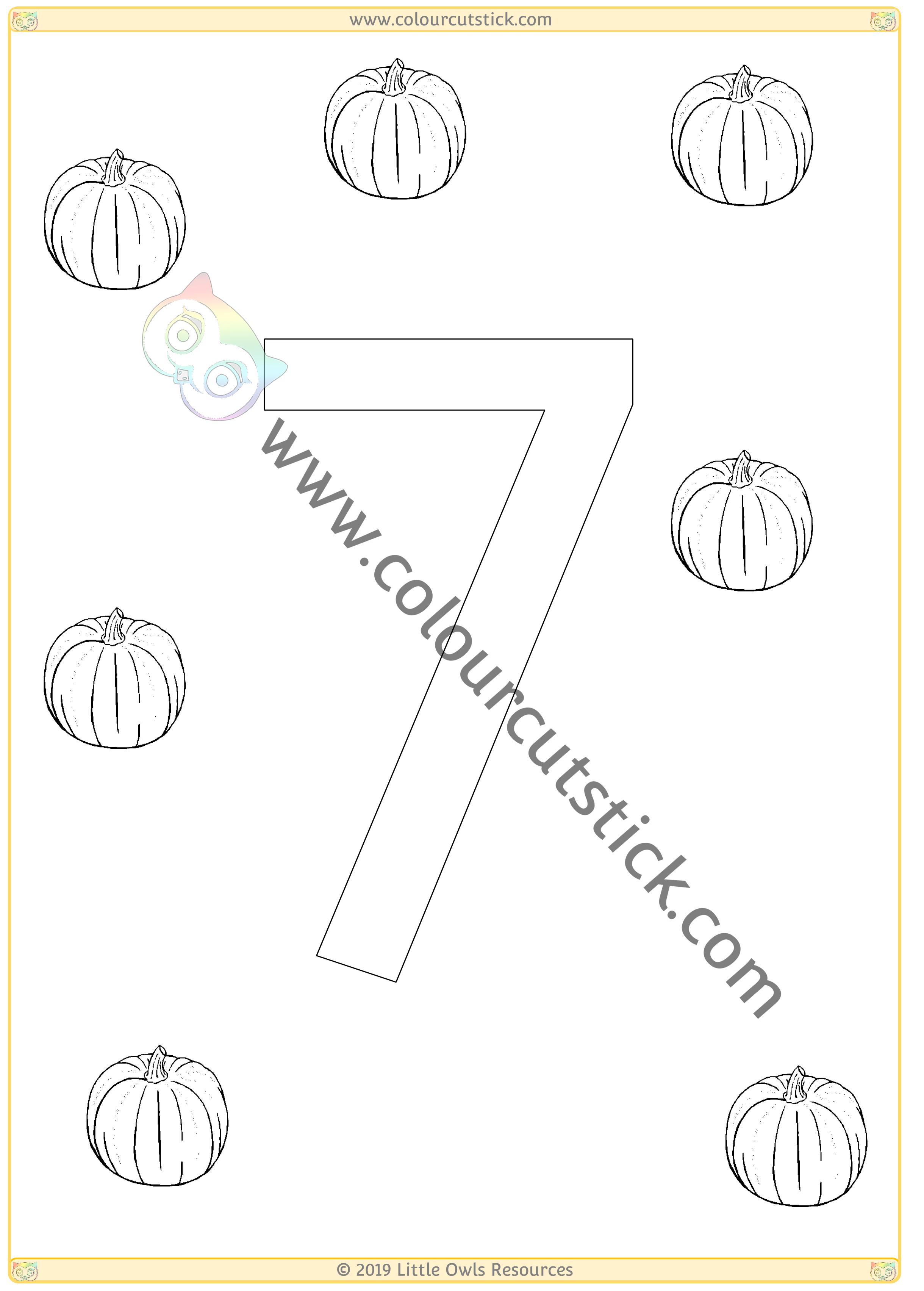 Pumpkin Colour & Count Poster - Seven -