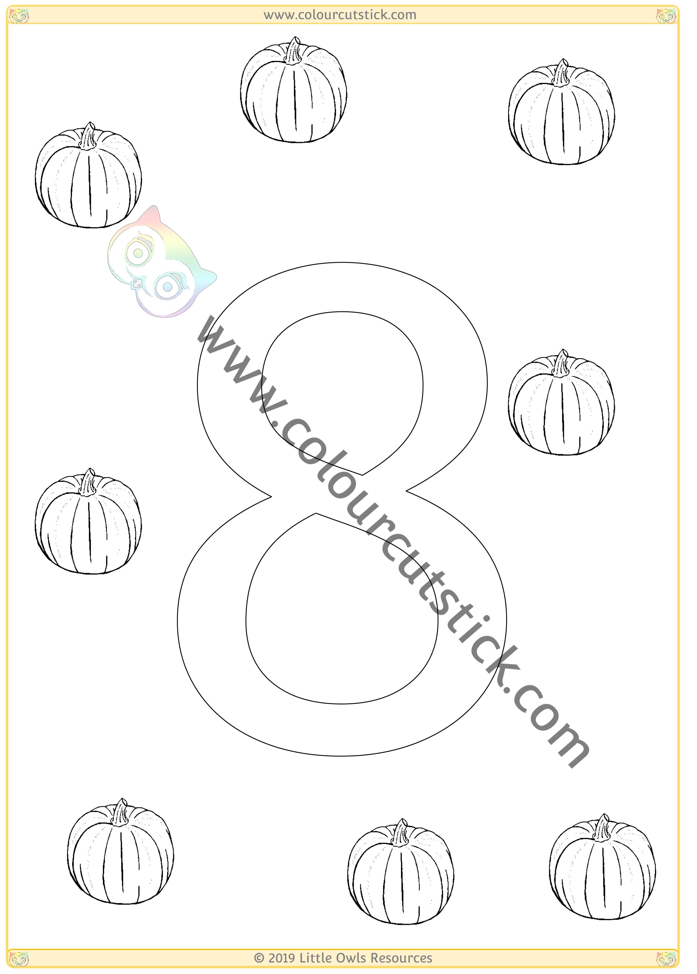 Pumpkin Colour & Count Poster - Eight -