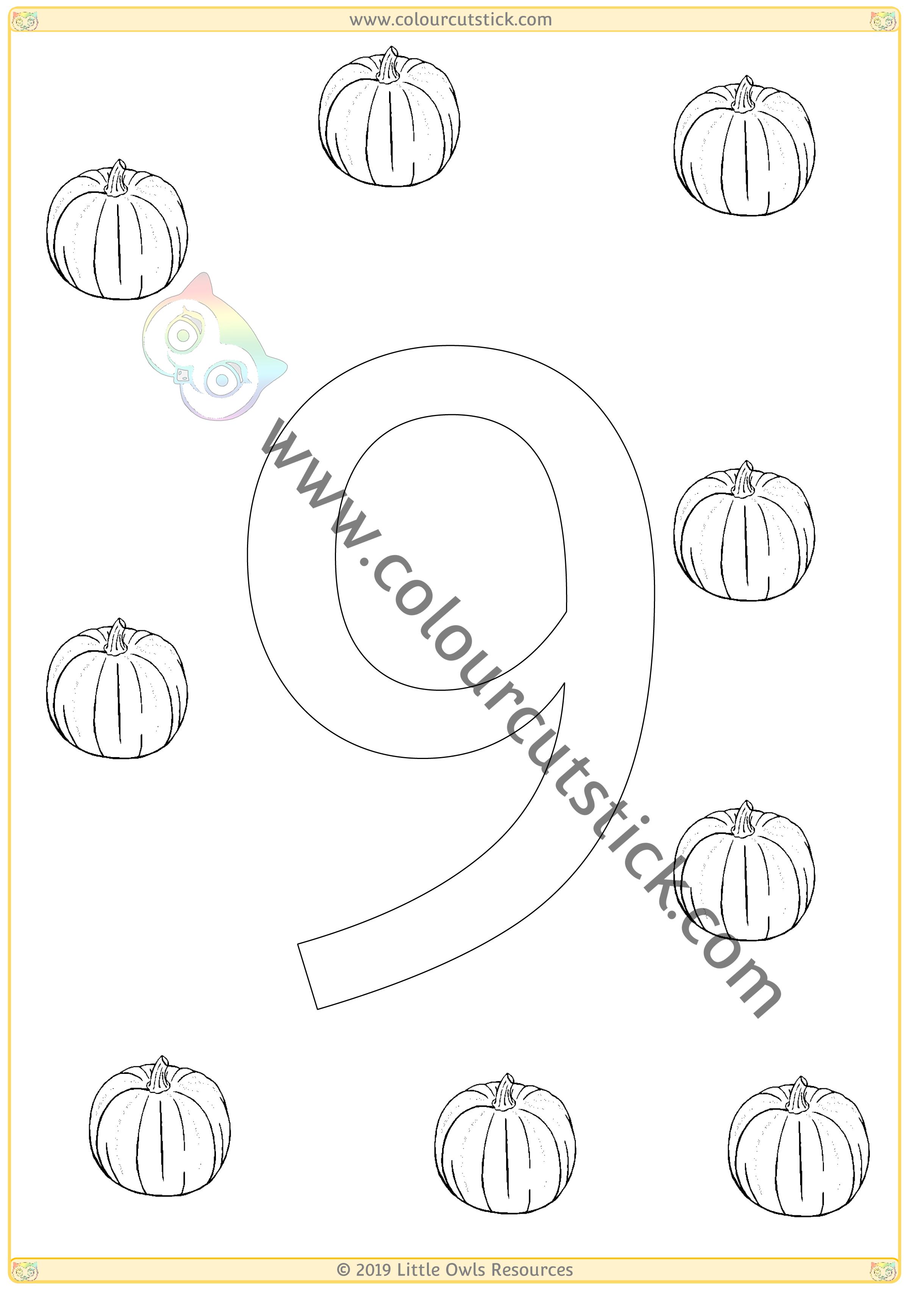 Pumpkin Colour & Count Poster - Nine -