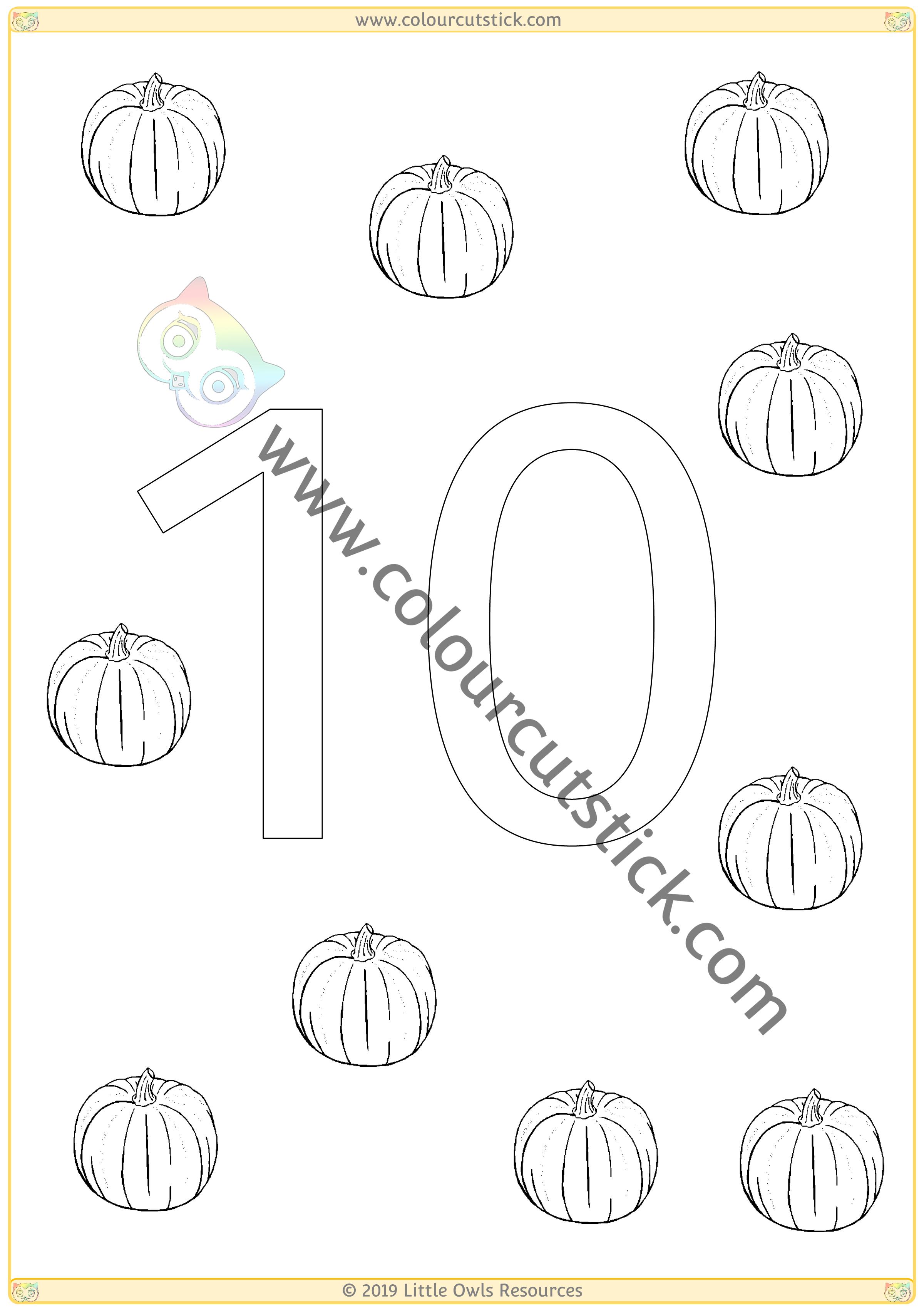 Pumpkin Colour & Count Poster - Ten -