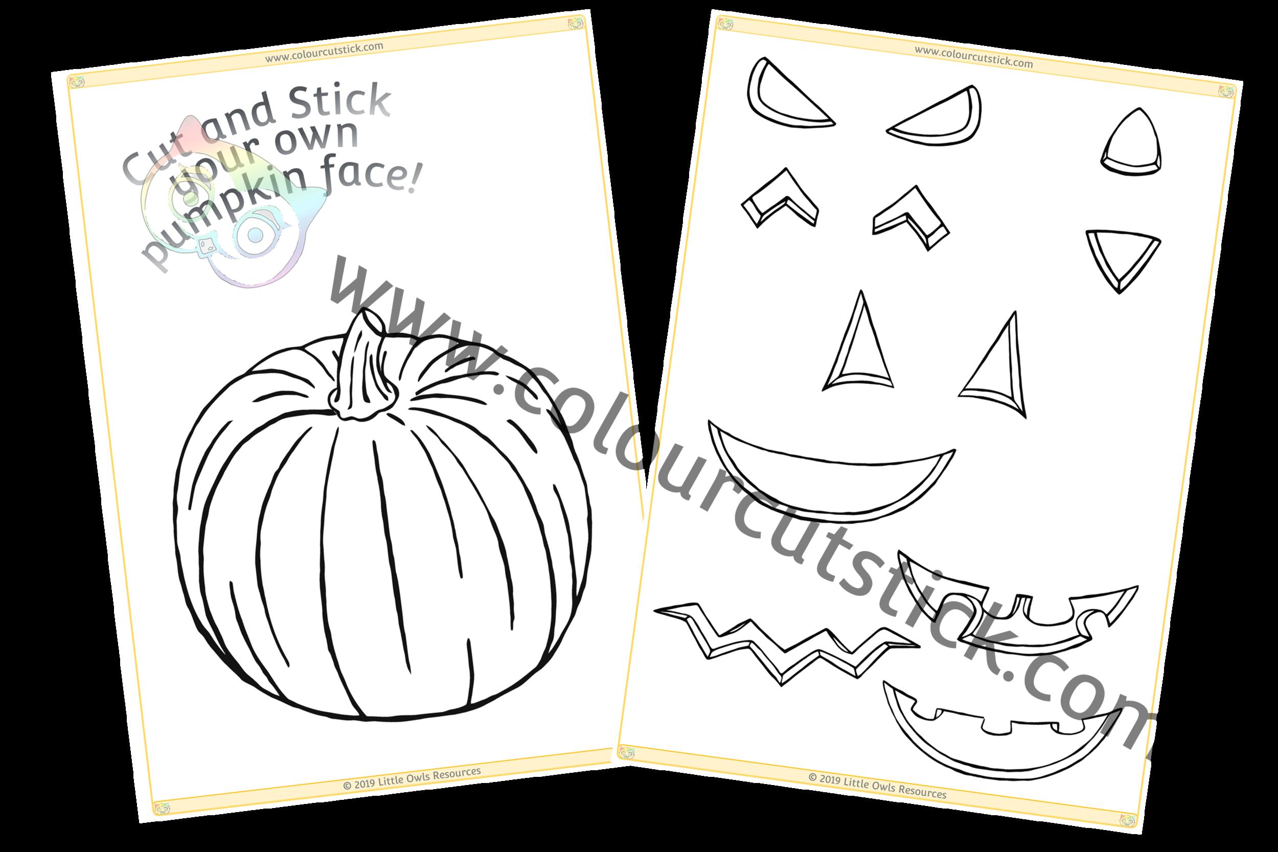 Colour, Cut & Stick Pumpkin Face PACK -