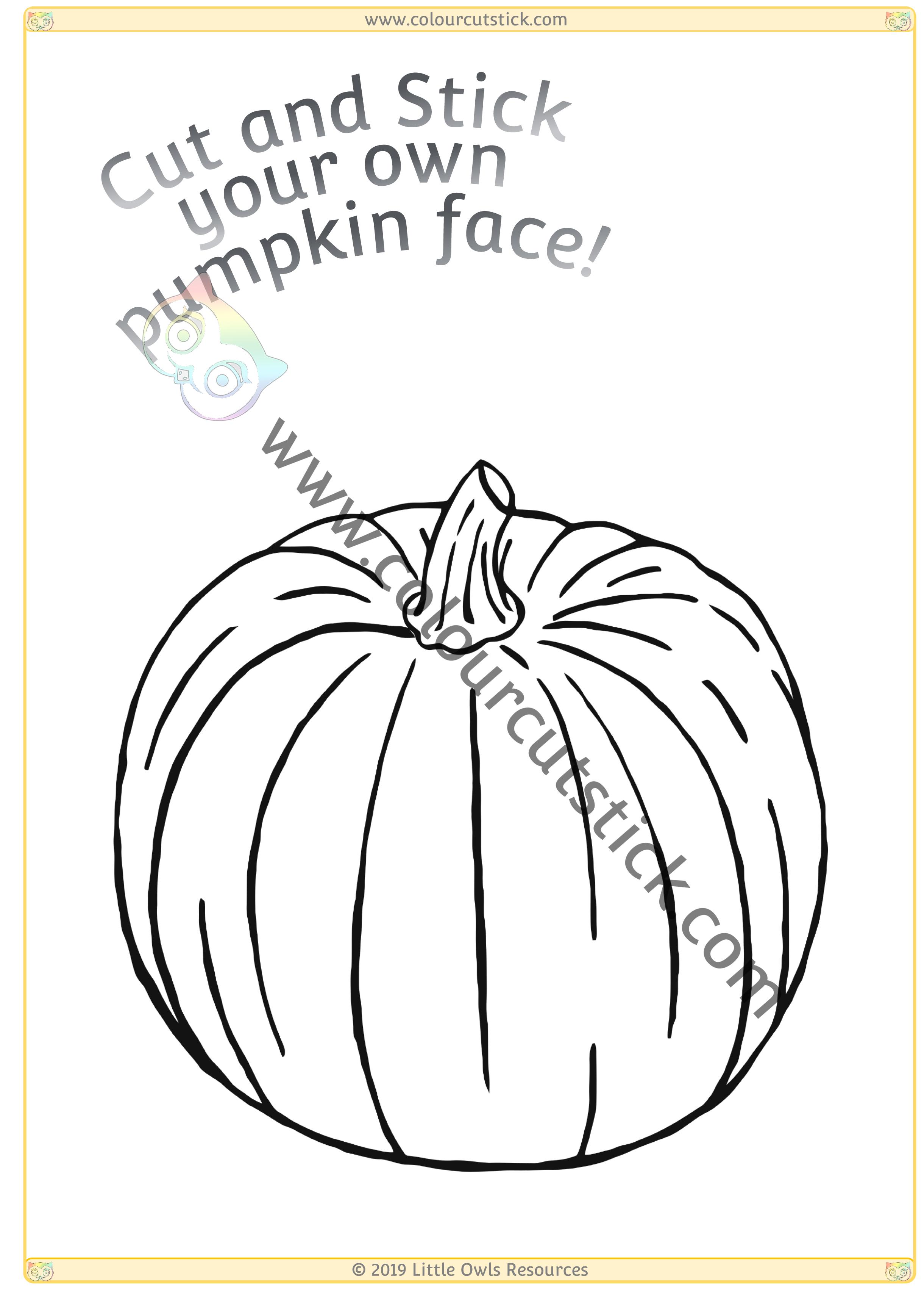 Colour, Cut & Stick Pumpkin Face - Page 1 -