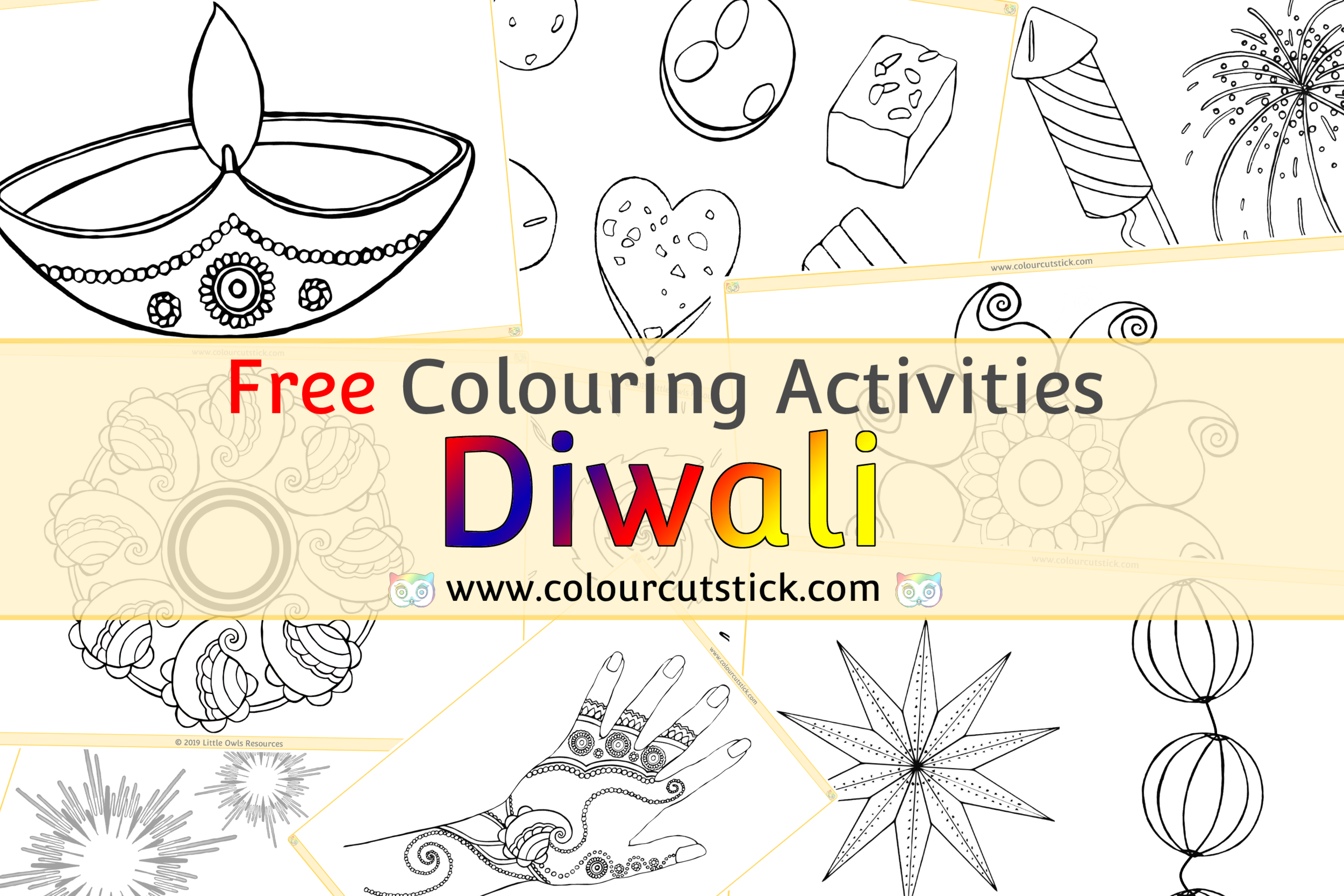 Free Diwali Colouring Coloring Pages For Children Kids Toddlers Preschoolers Early Years Colour Cut Stick Free Colouring Activities