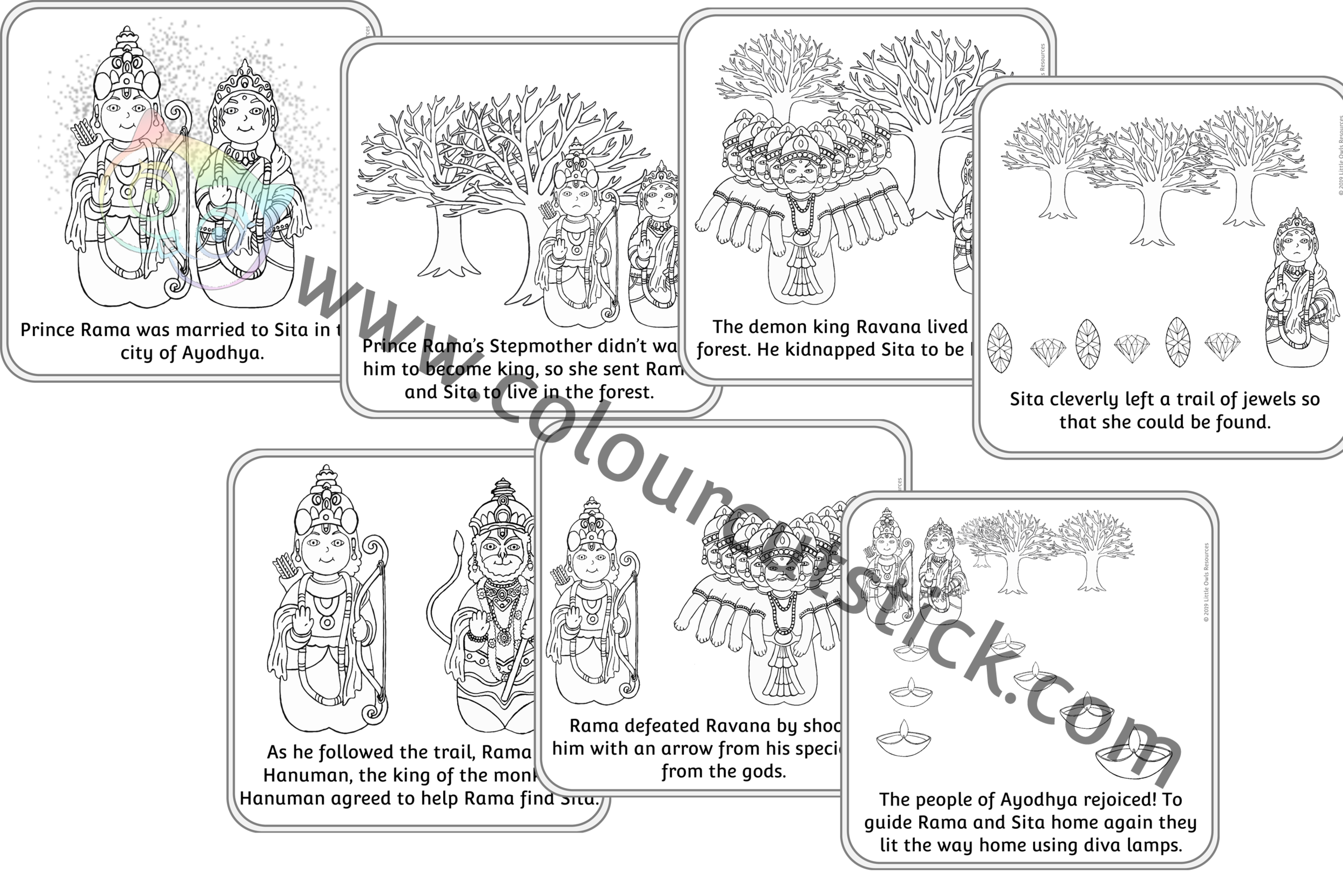 Diwali Story Sequence Colouring Cards PACK -