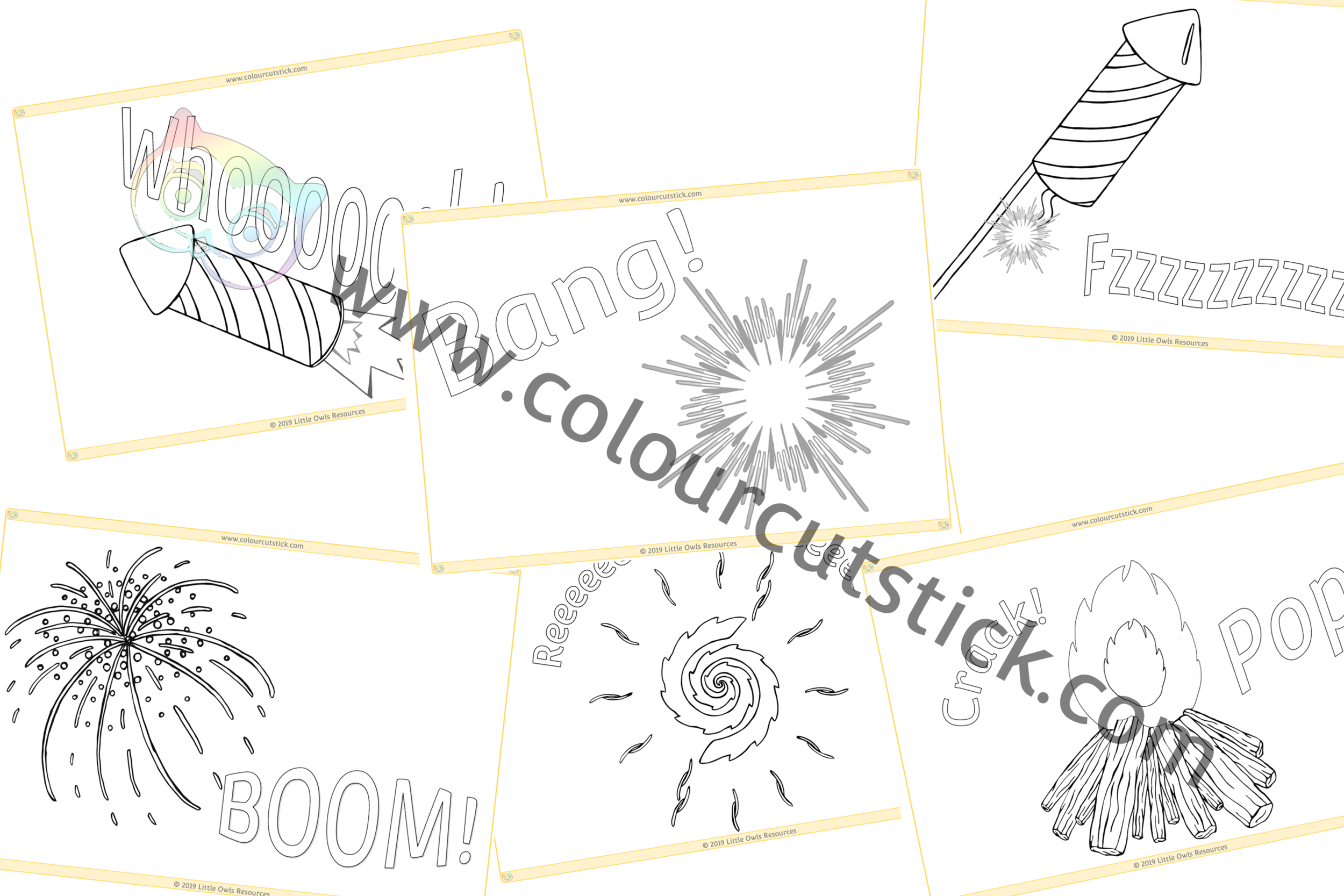 Fireworks Phase 1 Sounds Colouring PACK -