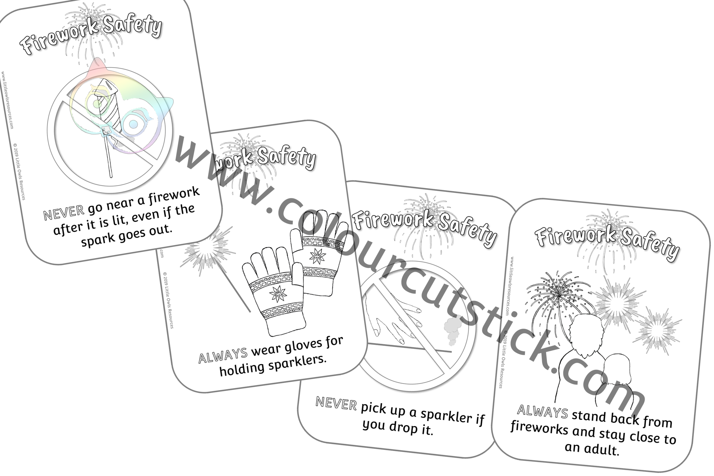 Firework Safety Cards Colouring PACK -