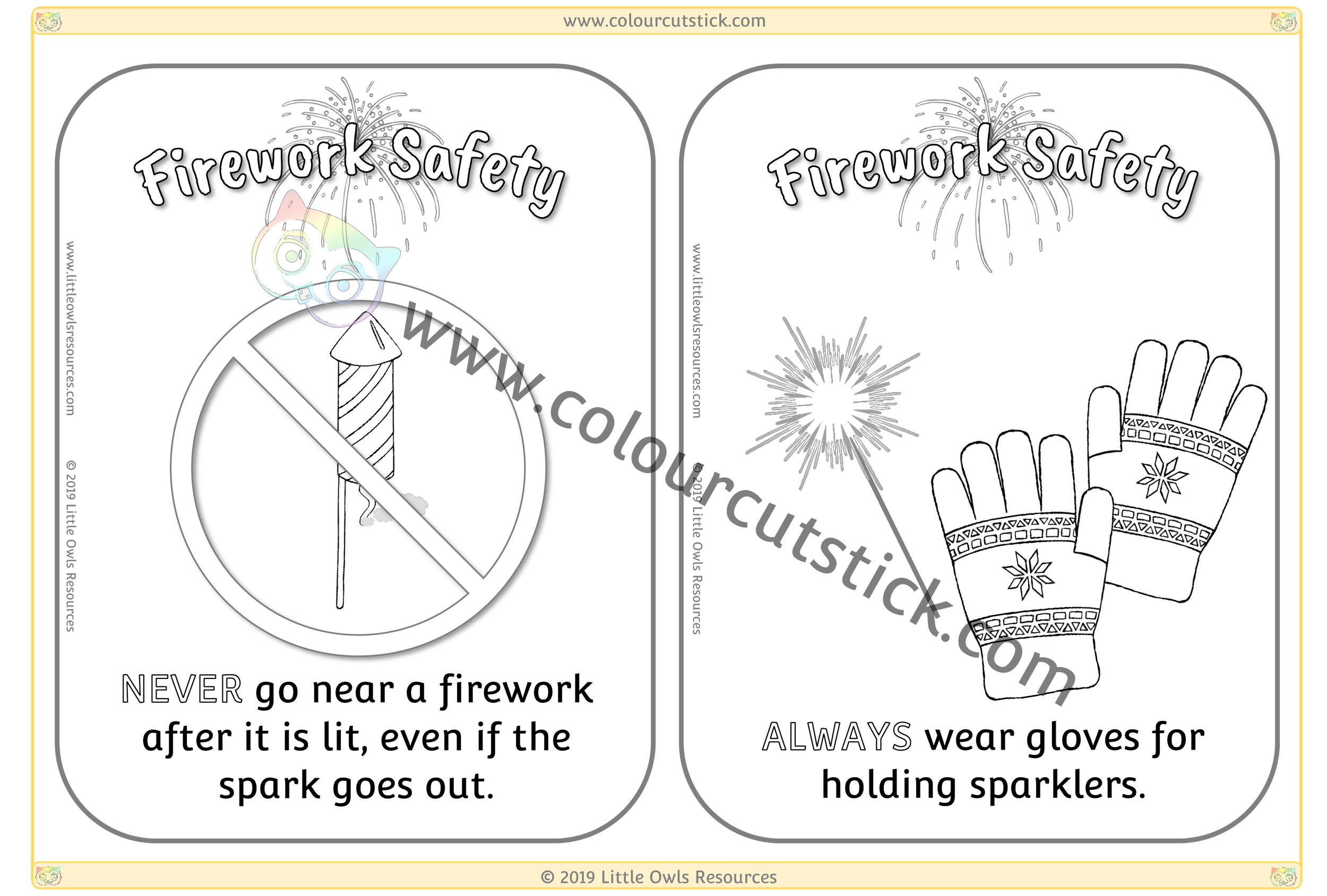 Firework Safety Cards Colouring - 1 -