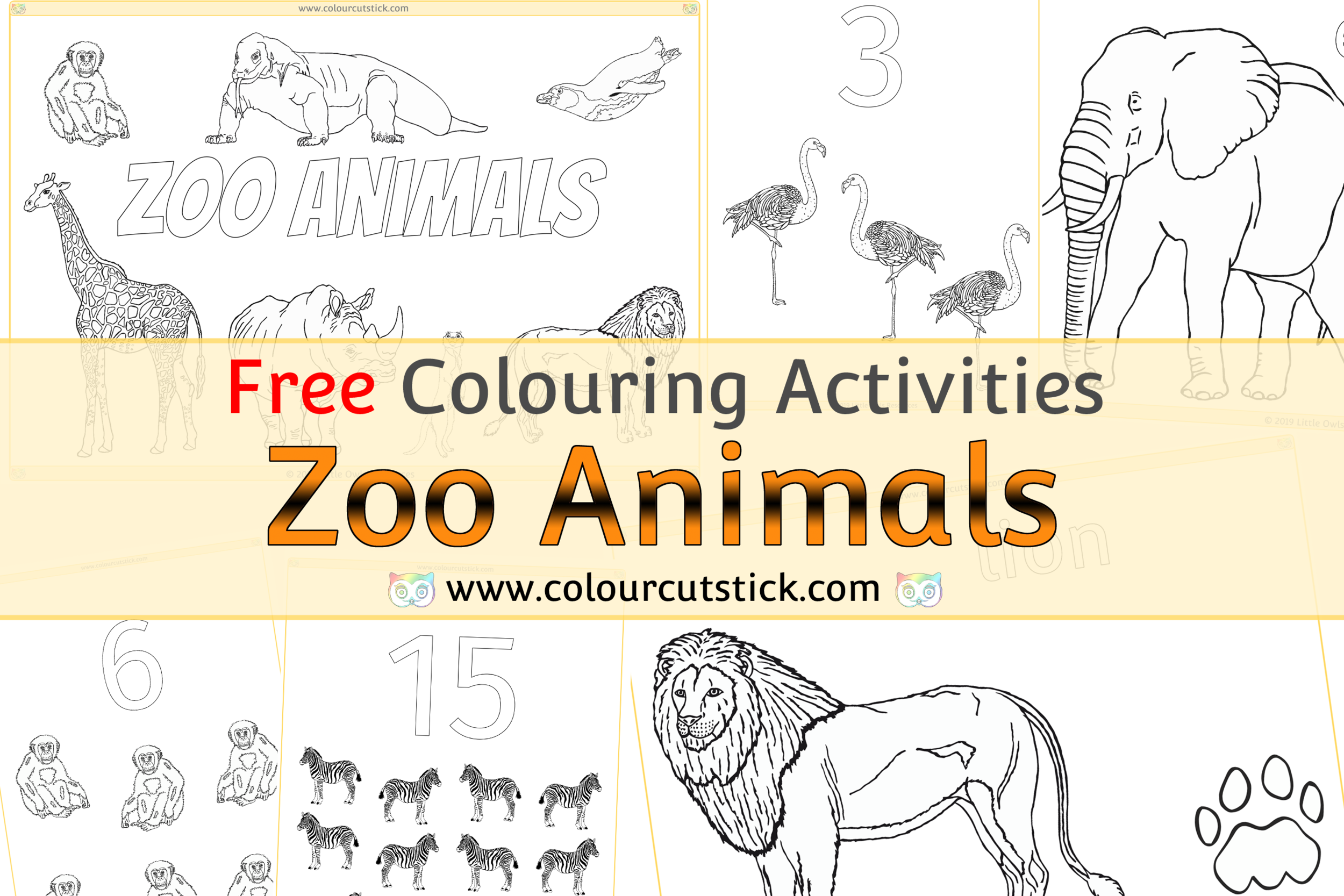 Free Zoo Animals Colouring Coloring Pages For Children Kids Toddlers Preschoolers Early Years Colour Cut Stick Free Colouring Activities