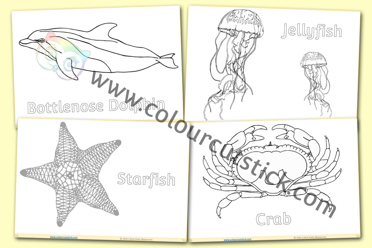 Free Under The Sea Colouring Coloring Pages For Children Kids Toddlers Preschool Early Years Colour Cut Stick Free Colouring Activities