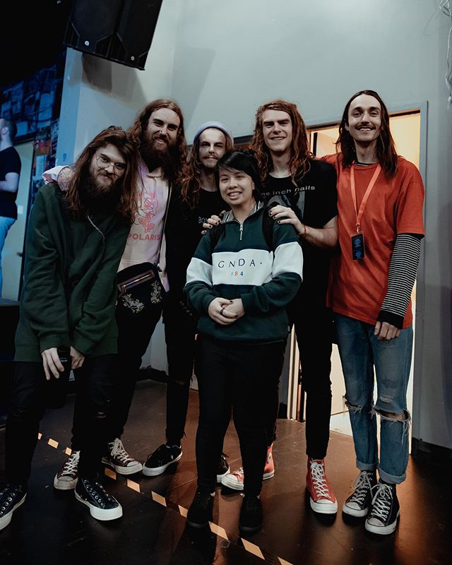 Shout out to Eliza! She's at just about every show we go to in Melbourne, whether we are on the bill or not. She has surprised us multiple times by randomly turning up at our interstate shows, on the other side of the damn country! @mosh_fit16 you always leave us in awe at the effort you go to to support the bands you do, it doesn't go unnoticed! 🖤  This photo was taken in Perth WA last Sunday. We had to force her to take it but we finally got her on the other side of the lens!