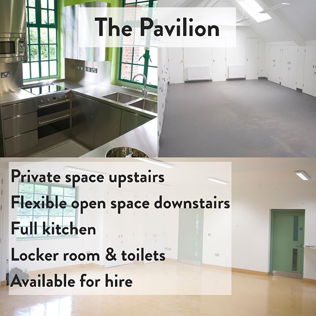 6 days until our opening on Sunday, 12-5! Here's a sneak peak of the inside of the pavilion, having been beautifully renovated for use as a community centre. The upstairs space is lit by skylights, making it a great place for yoga, mindfulness, meditation, and life drawing. Downstairs is our largest room, open and flexible for just about anything you can think of. Next to the main room is our fully-equipped kitchen, where we'll be hosting cooking classes and hopefully the odd pop-up. Also downstairs is our locker room, designed with muddy boots and wet coats in mind, and with plenty of secure storage. Rounding it all off, we've got abundant toilets, including access for wheelchair-users and baby-changers.  Come down on Sunday for a closer snoop if you're interested!  https://www.facebook.com/events/1234628116710590/