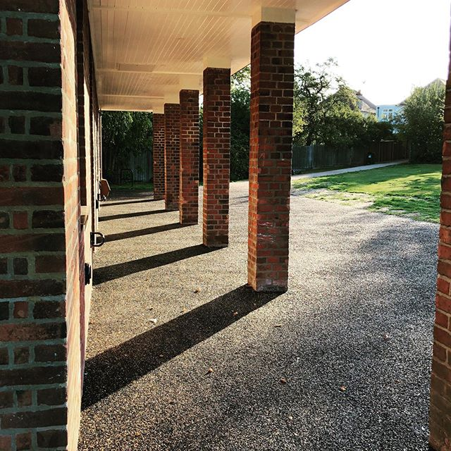 The Pillars of the Pavilion in the morning sunshine.  All nice and peaceful before a day of bicycle repair activity with @wearecyclinguk  Please come and join us for a free cycling checkup. . . #woodfieldpavilion #sunshine #morningshadows #pillars #tootingcommon #cycling #safetycheck #itsfree