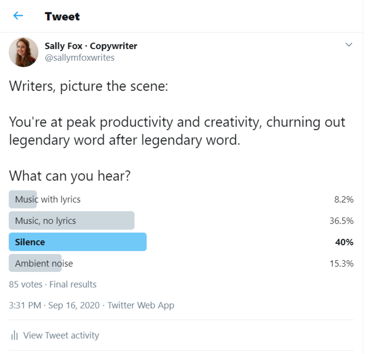A scientific Twitter poll shows 40% of writers prefer to write in silence.