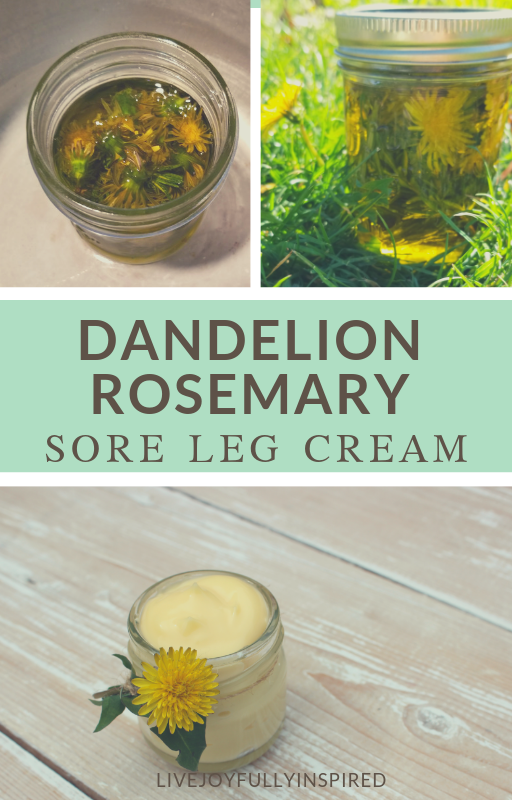 If you've got sore legs this all-natural remedy can provide relief. Made with nourishing ingredients such as shea butter and essential oils, this Dandelion Rosemary Sore Leg Cream is an easy alternative to store-bought pain cream. #sorelegs #healingcream #runandjog
